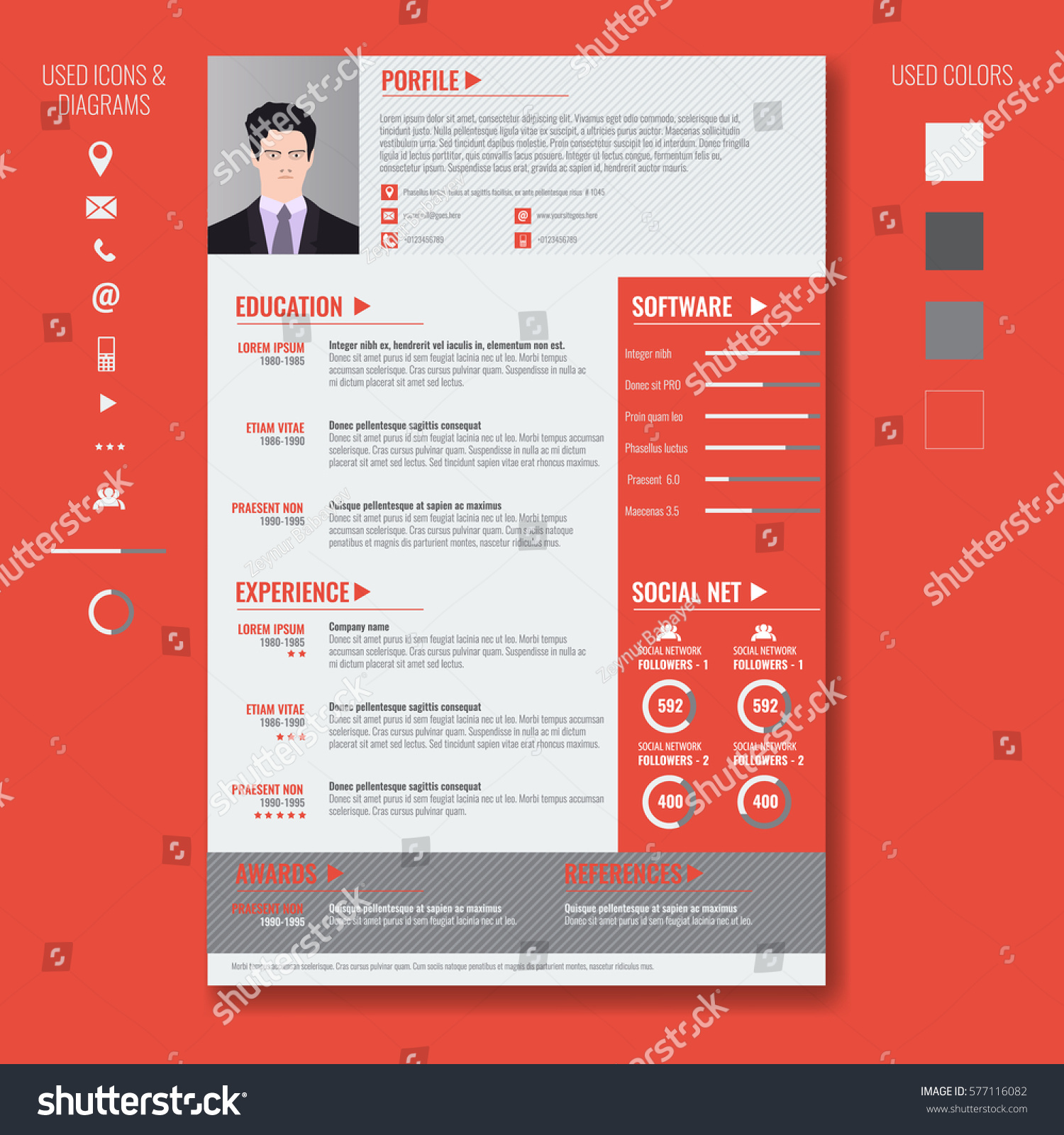 vector creative minimalist cv resume template stock vector 577116082