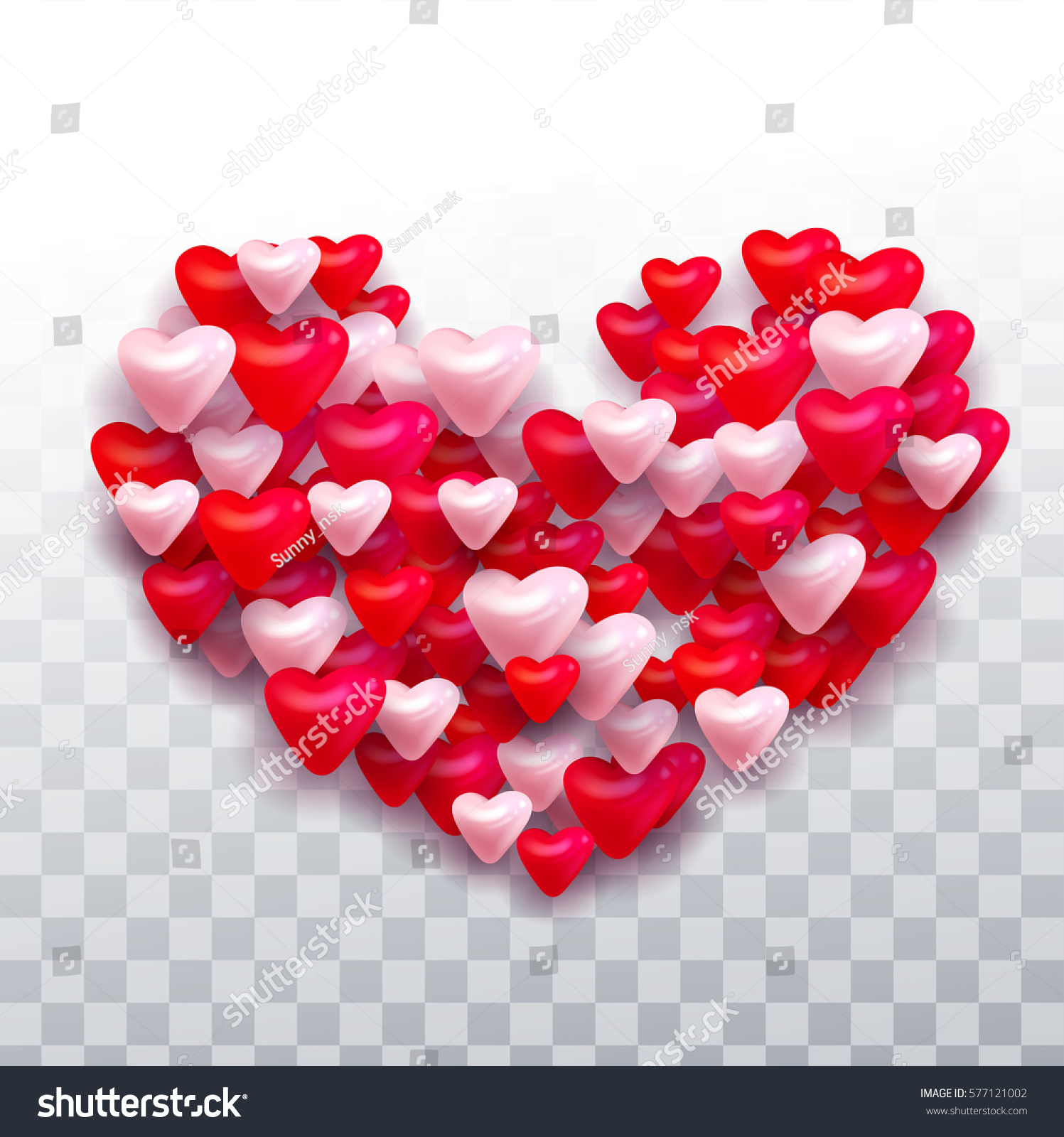 Vector Valentines Day Different Color Hearts Stock Vector Royalty
