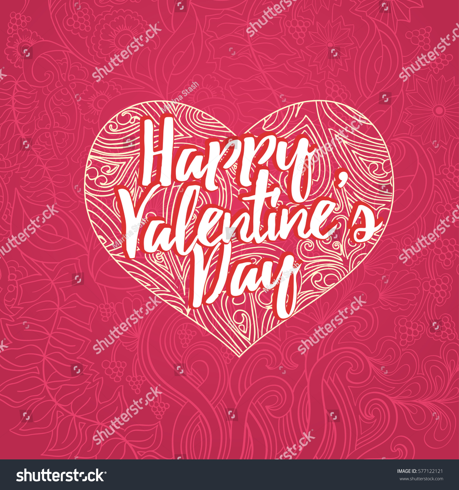 happy valentines day lettering greeting card stock vector