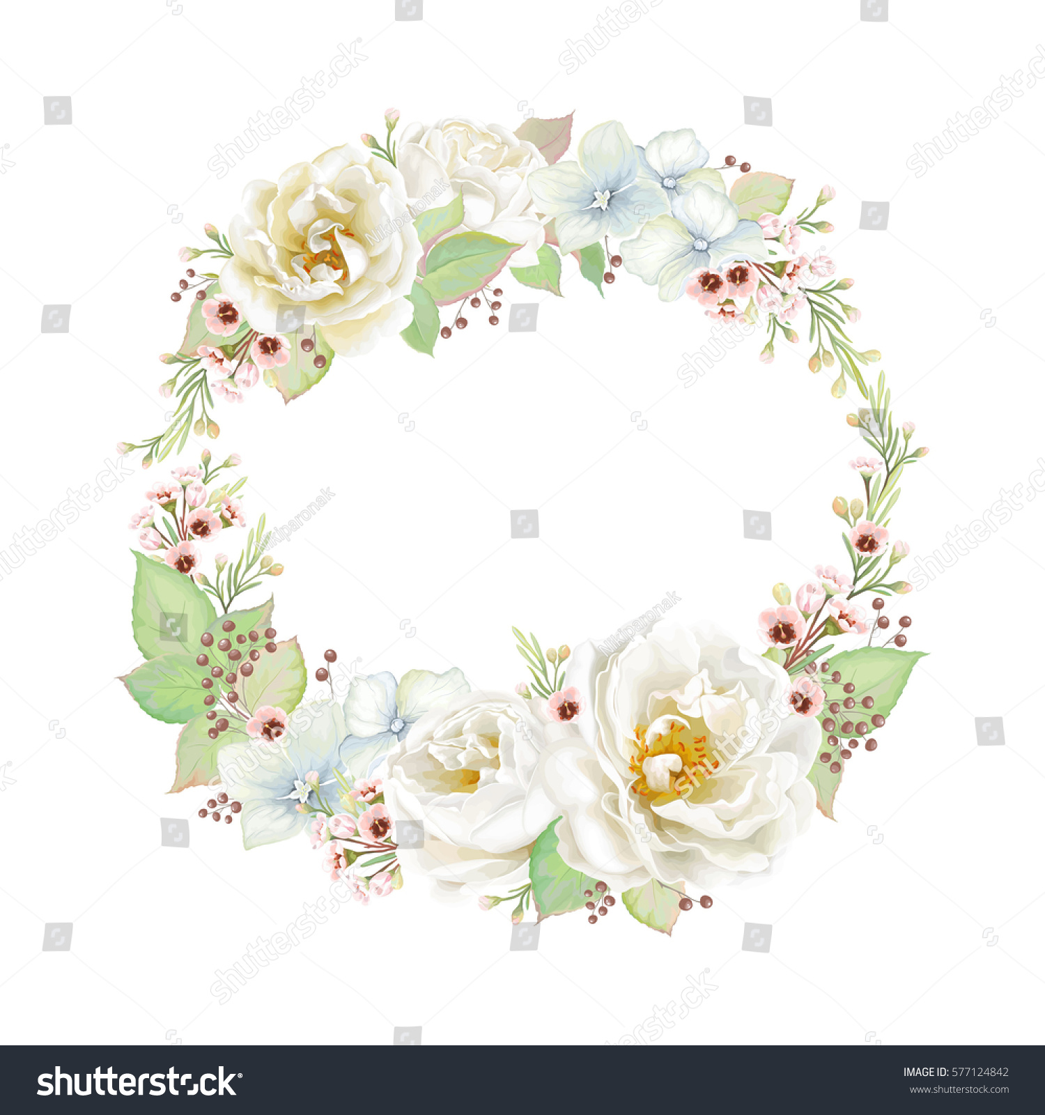 Decorative Wreath Flowers Roses White Color Stock Vector Royalty