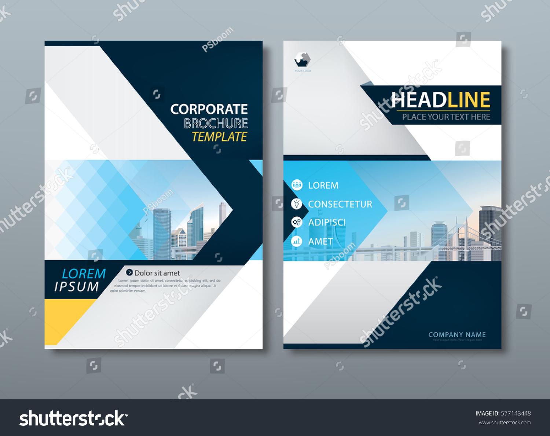 Blue Yellow Flyer Design Template Vector Stock Vector Royalty Free
