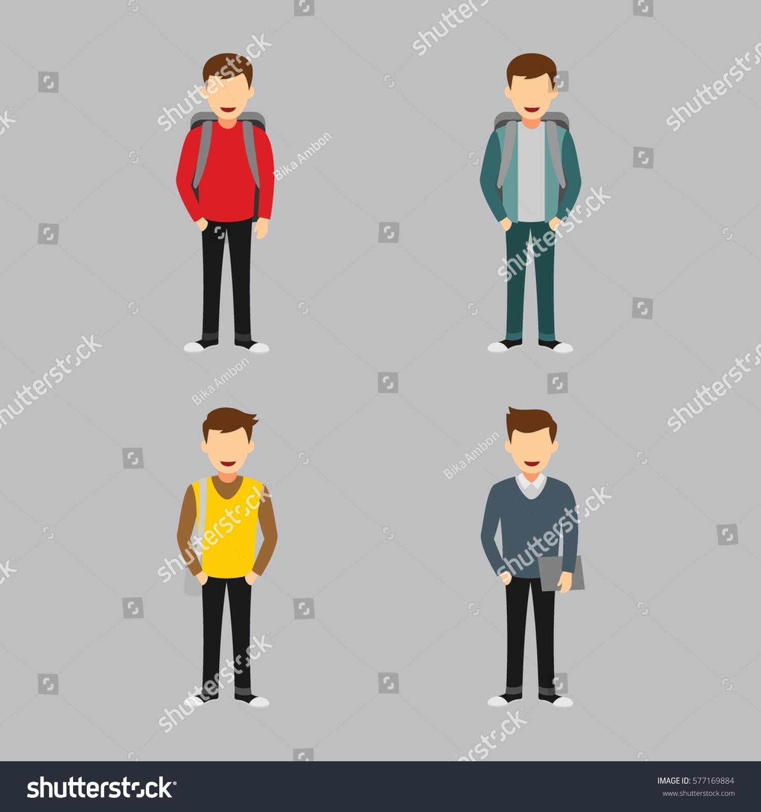 Character Design University : Set university students character design vector stock