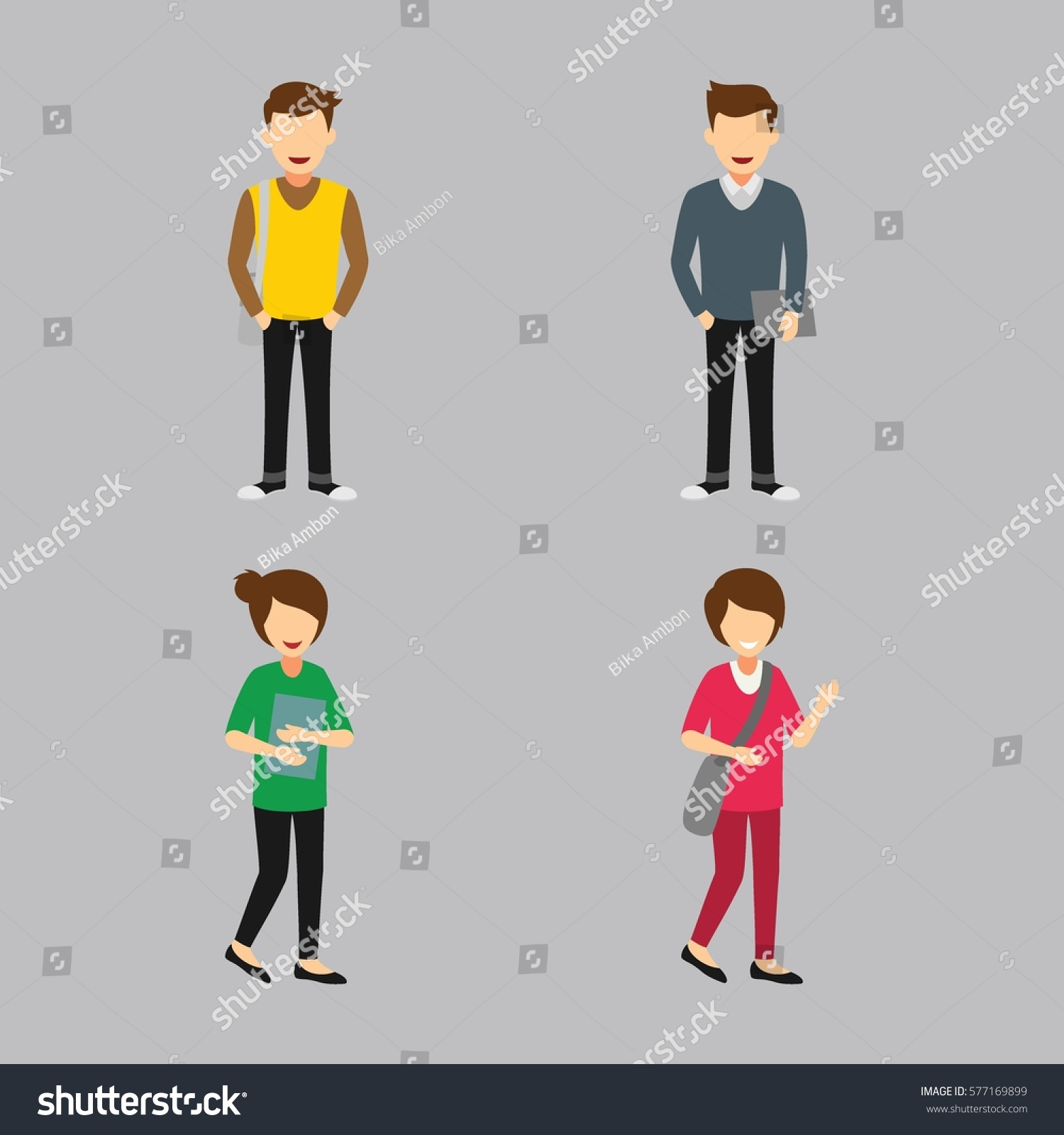 Character Design Courses College : Set university students character design vector stock