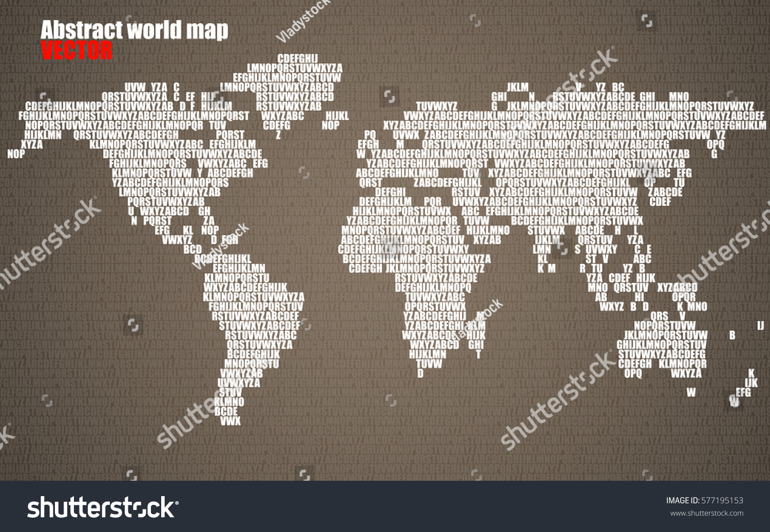 Abstract world map letters english alphabet stock vector 577195153 abstract world map with letters of english alphabet vector background gumiabroncs Images