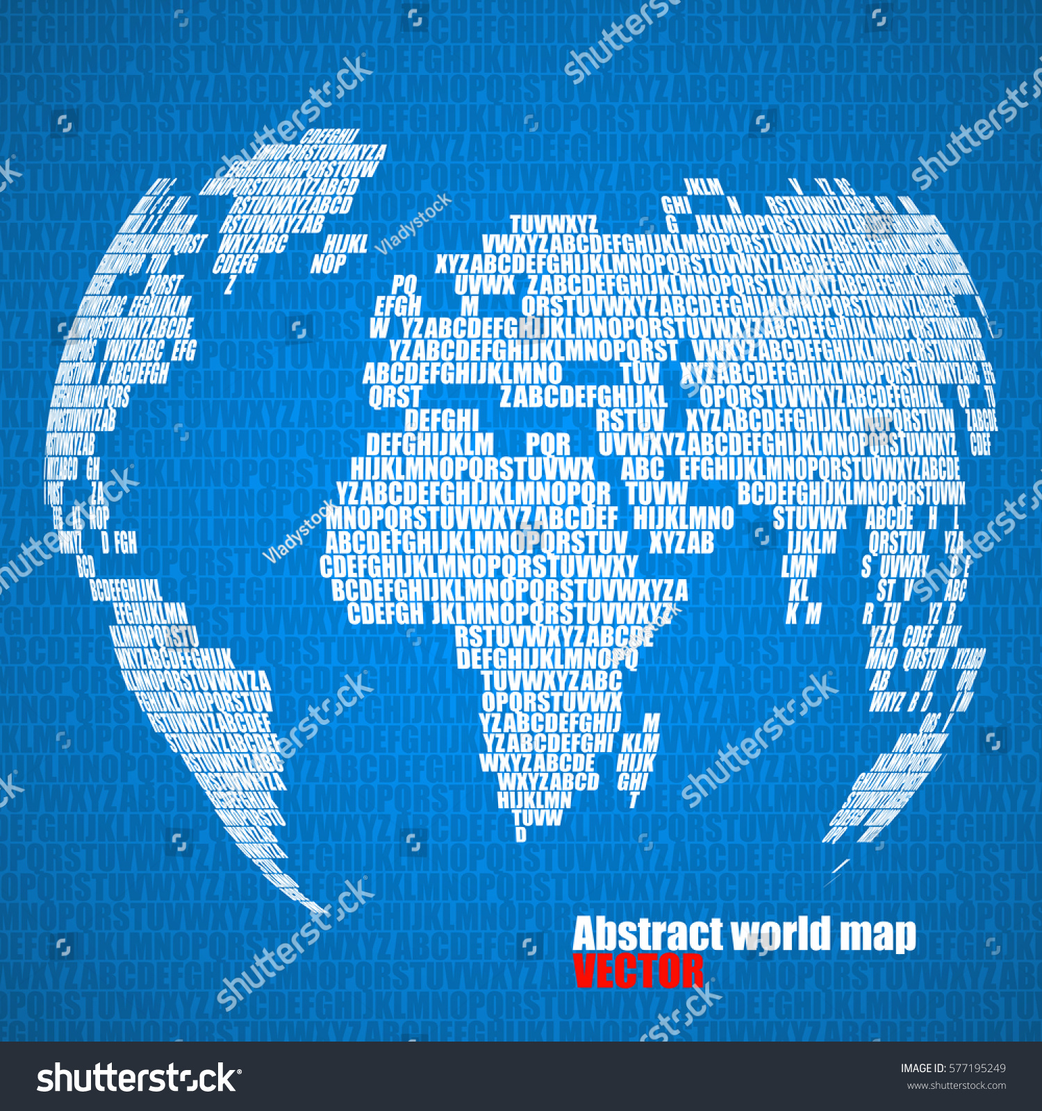 Abstract world map letters english alphabet vectores en stock abstract world map with letters of english alphabet vector globe background gumiabroncs Images