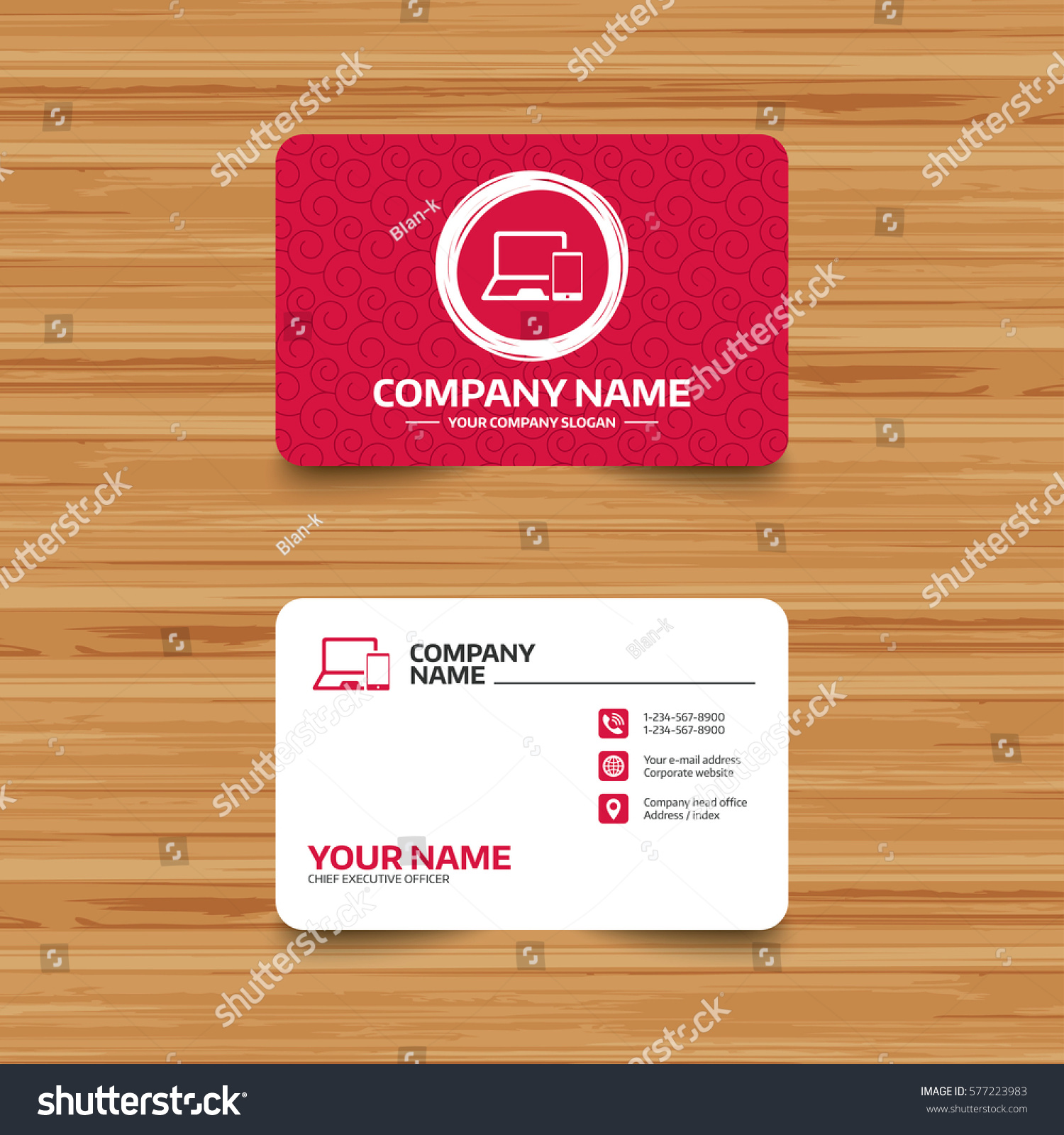 Business Card Template Texture Mobile Devices Stock Illustration ...