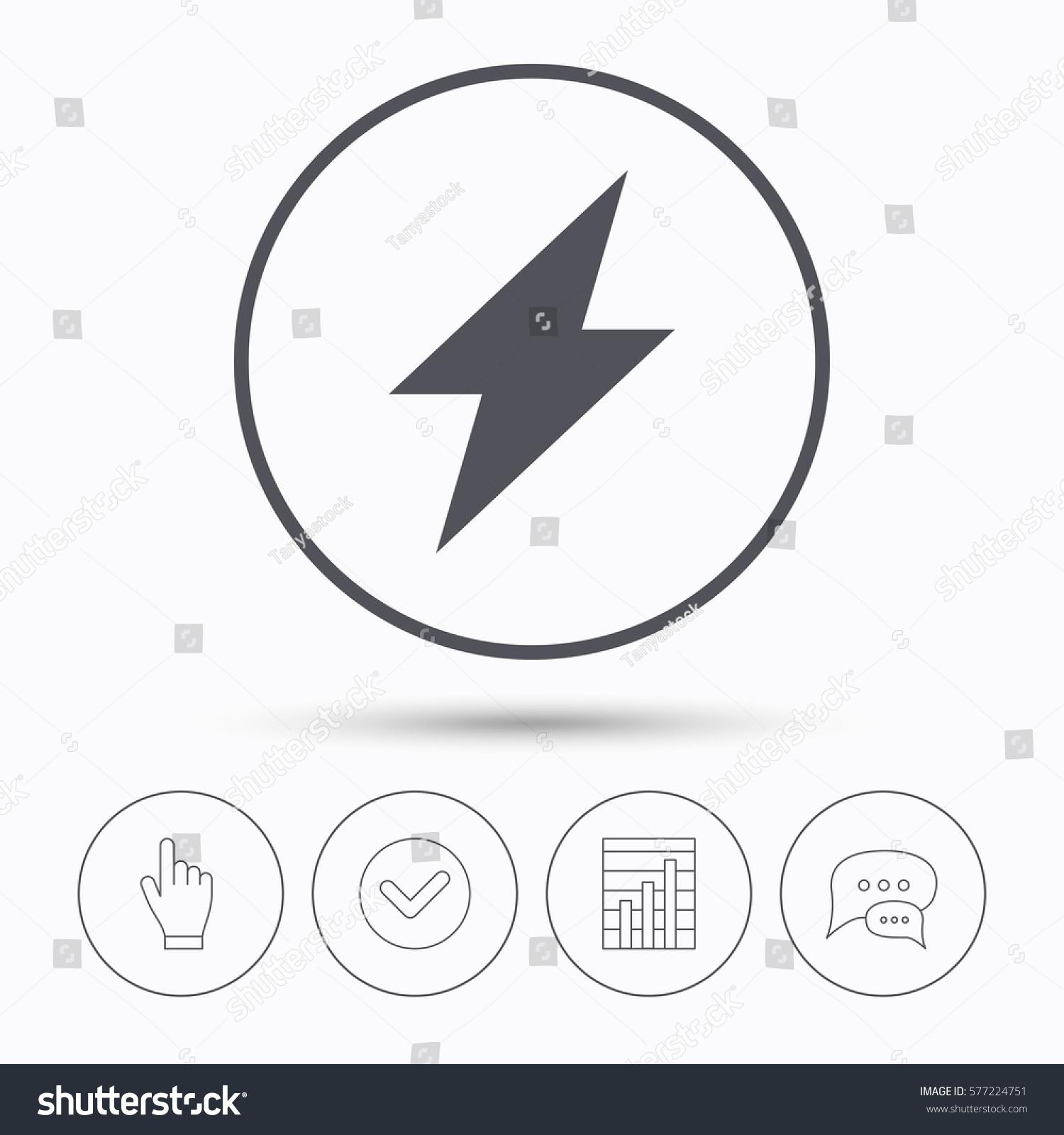 Lightning Icon Electricity Energy Power Symbol Stock Illustration ...