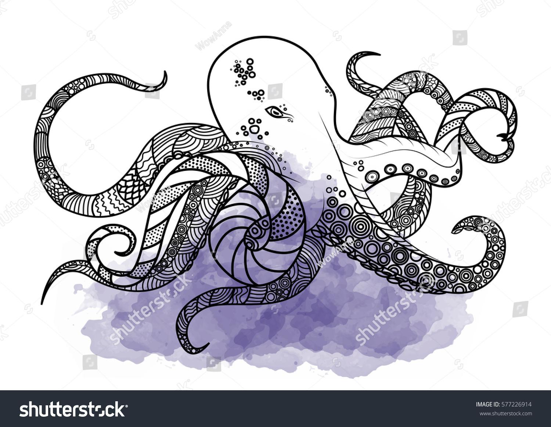 Line Art Octopus : Line art hand drawing black octopus stock vector