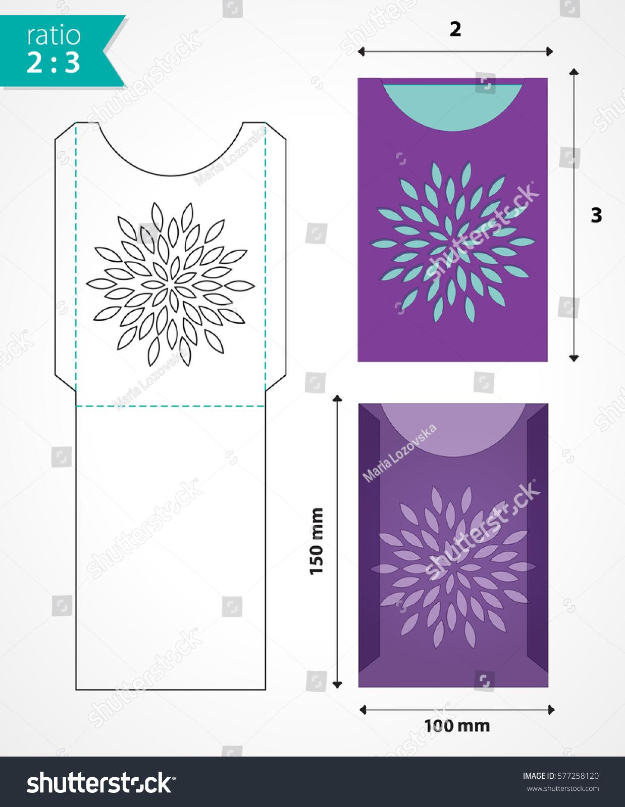 botanical laser cut envelope template paper stock vector royalty