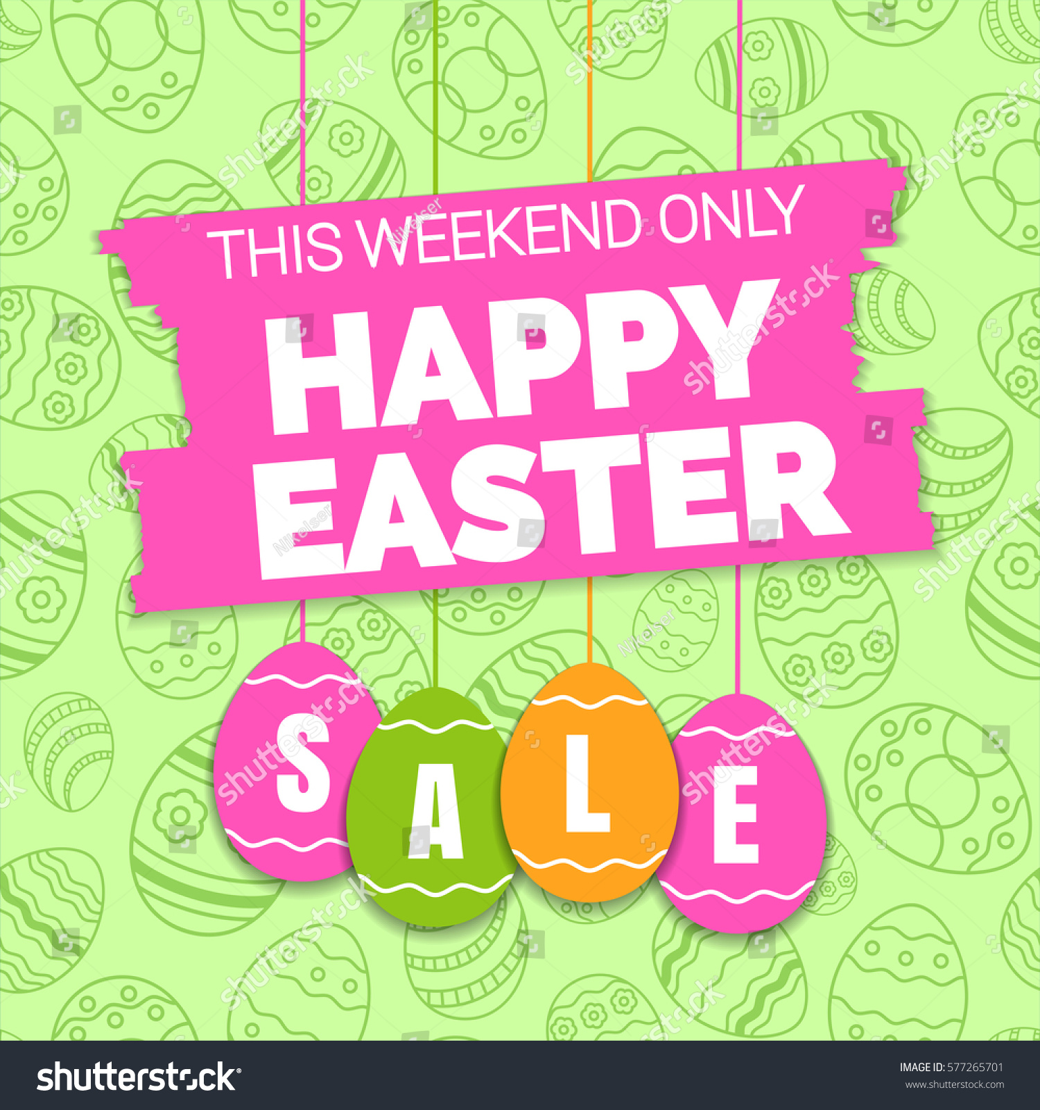 Easter Sale: Happy Easter Sale Offer Banner Template Stock Vector