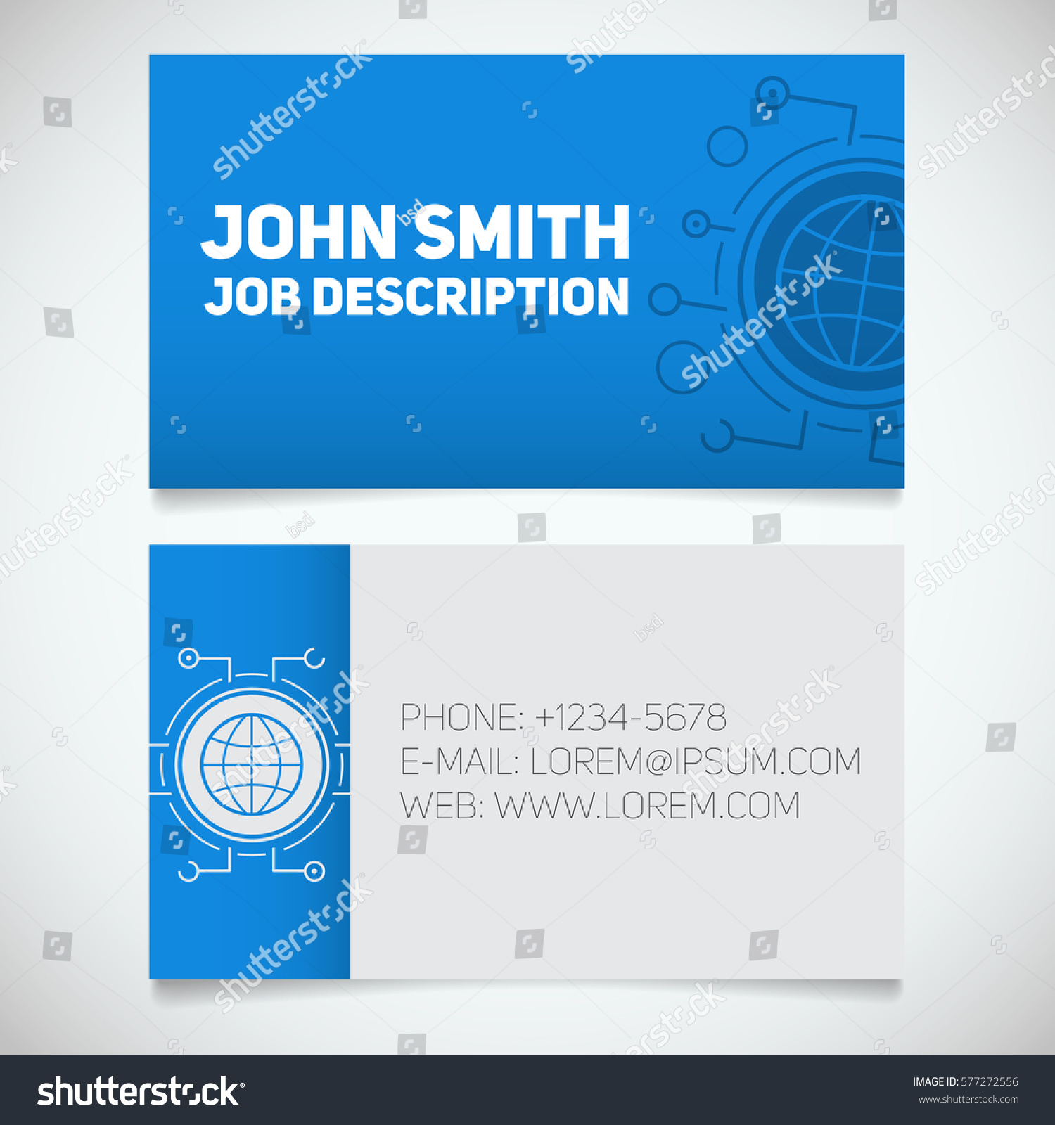 business card print template globe logo stock vector