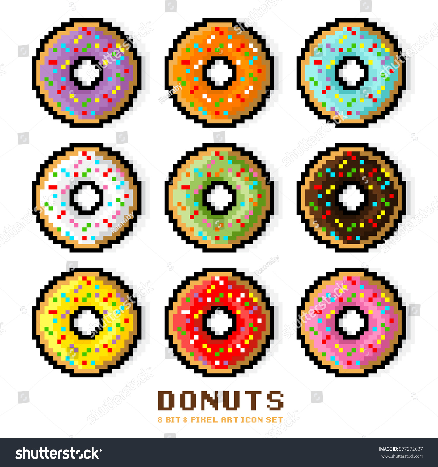 Vector Donut Set Colored Donuts With Sprinkles Dessert And Sweets In A 8 Bit