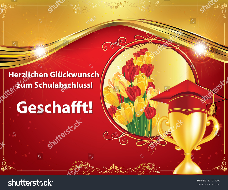 german graduation greeting card congratulations on stock