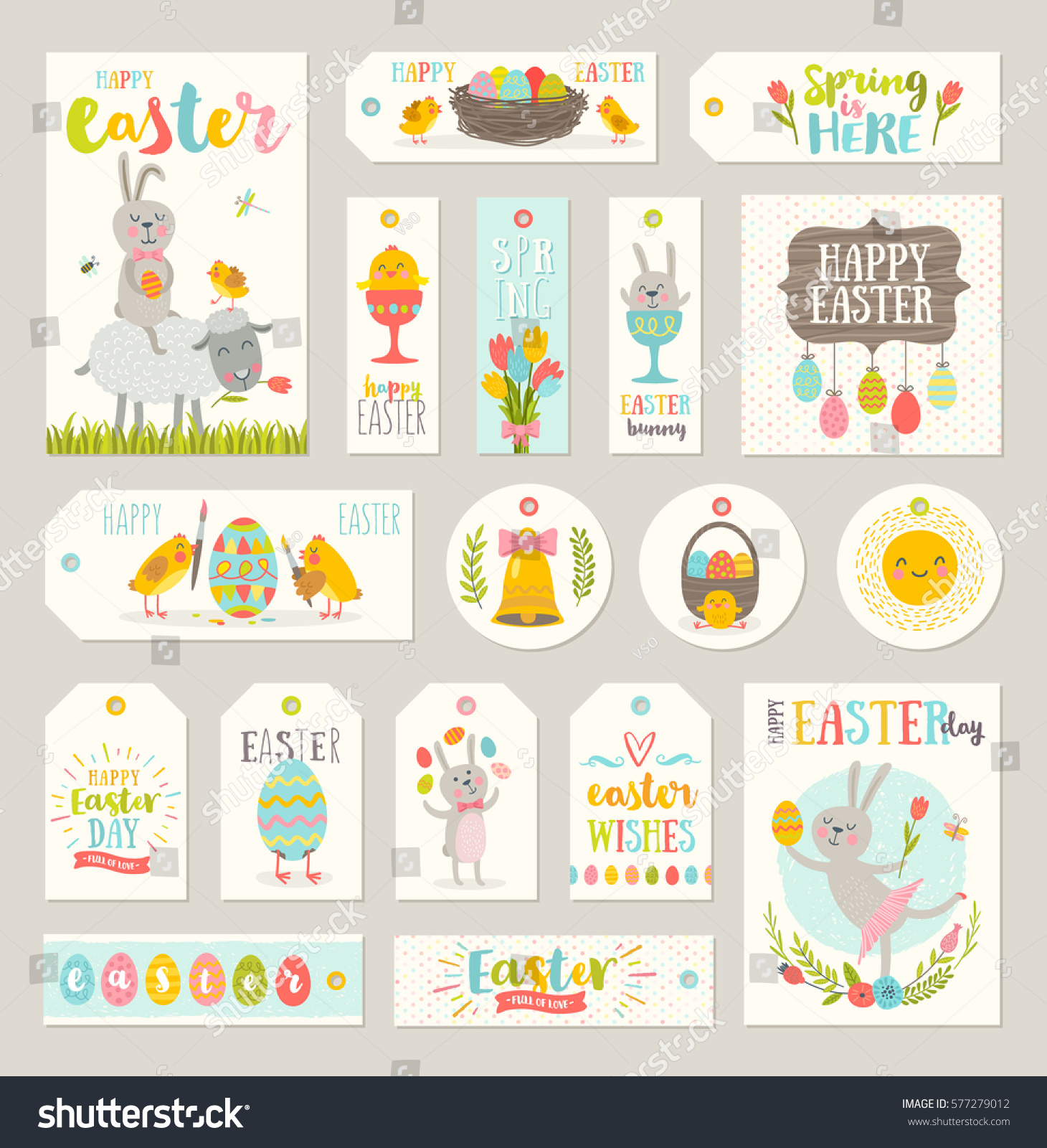 Set easter gift tags labels cute stock vector 577279012 shutterstock set of easter gift tags and labels with cute cartoon characters and type design easter negle Choice Image
