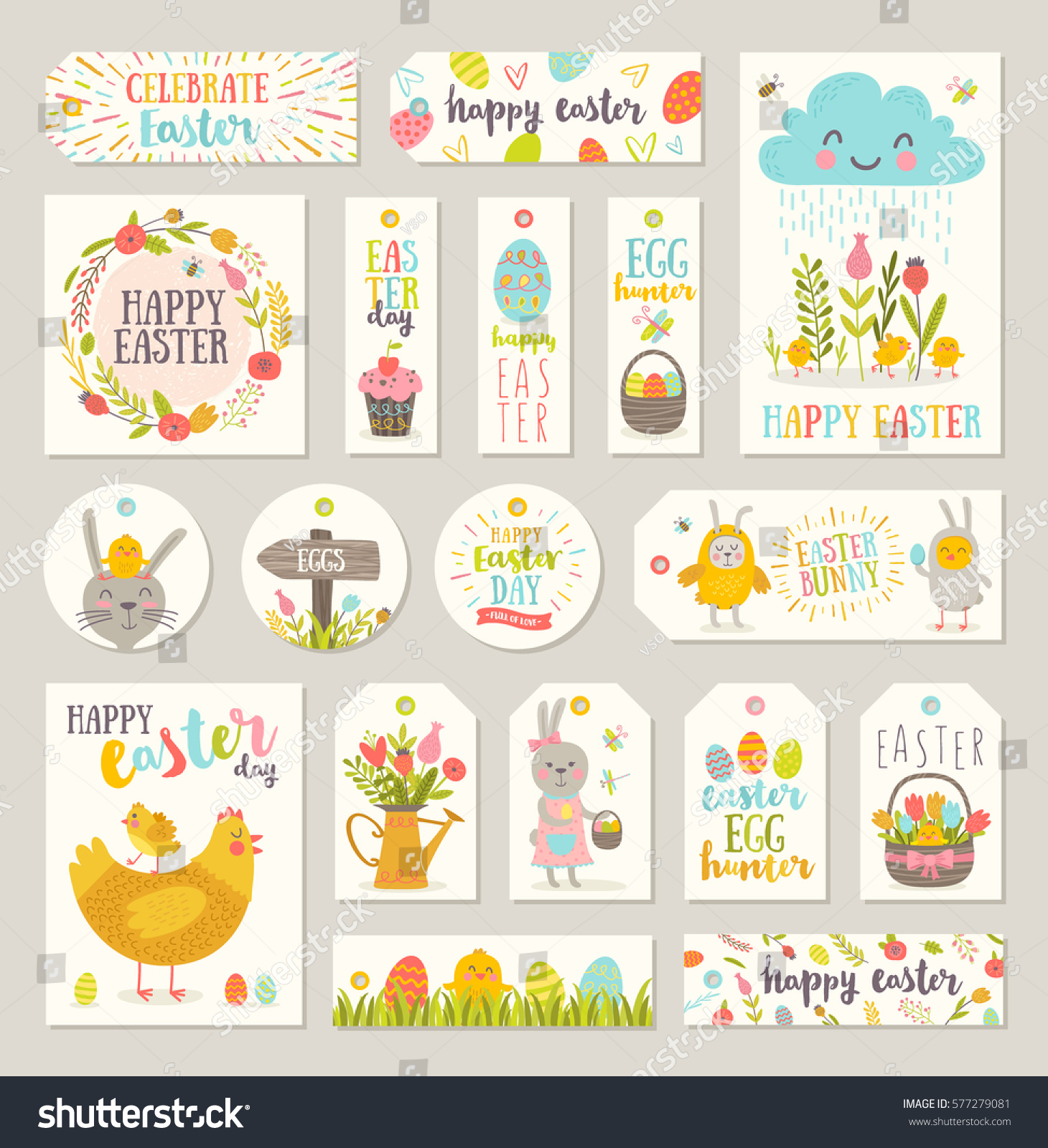 Set easter gift tags labels cute stock vector 577279081 shutterstock set of easter gift tags and labels with cute cartoon characters and type design easter negle Gallery