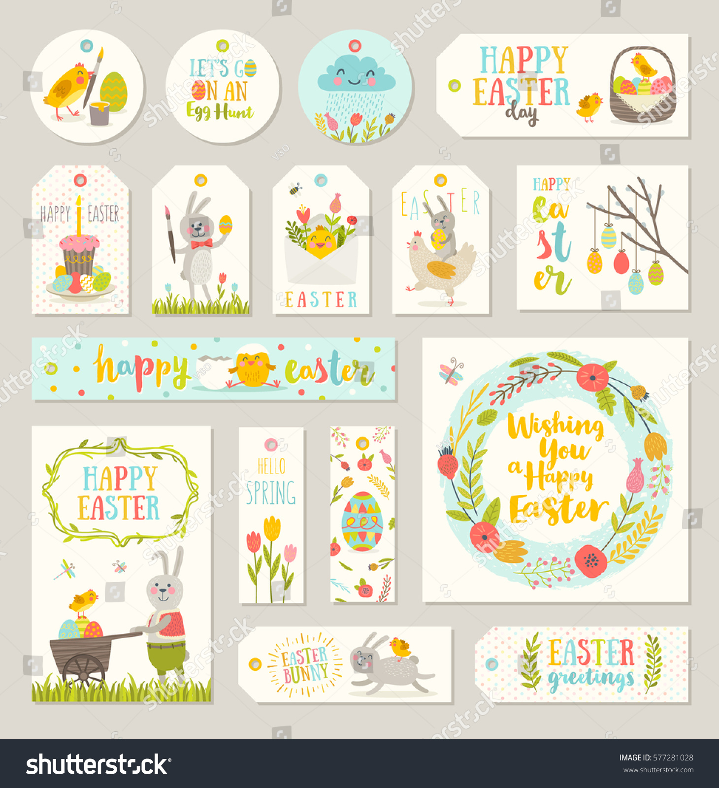 Set easter gift tags labels cute stock vector 577281028 shutterstock set of easter gift tags and labels with cute cartoon characters and type design easter negle Image collections
