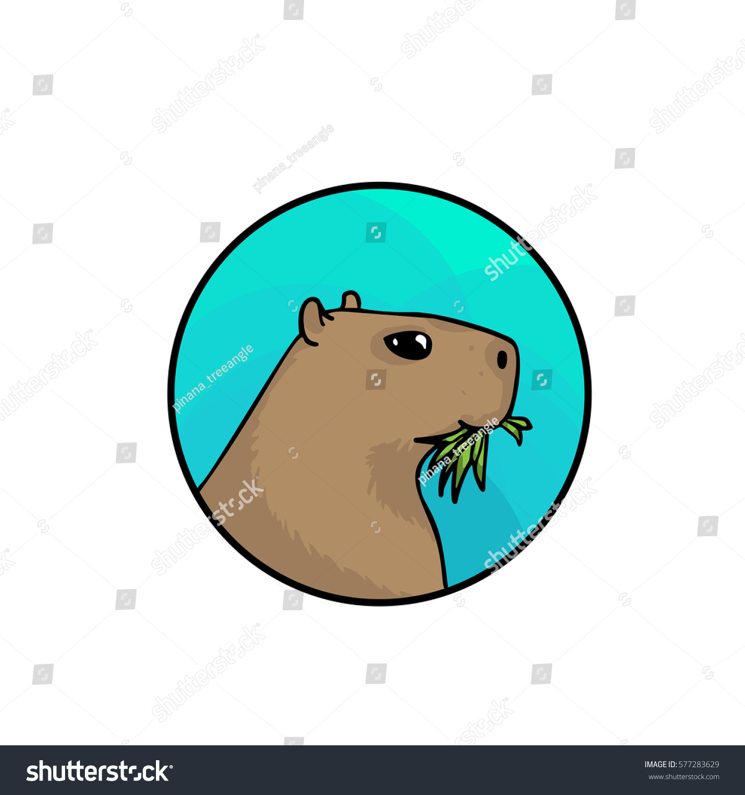 Capybara Badge Largest Rodent World Animal Vector de stock (libre de ...