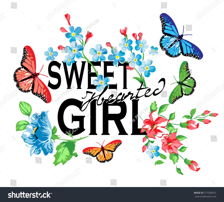 flower butterfly slogan text vector art stock vector 577300015