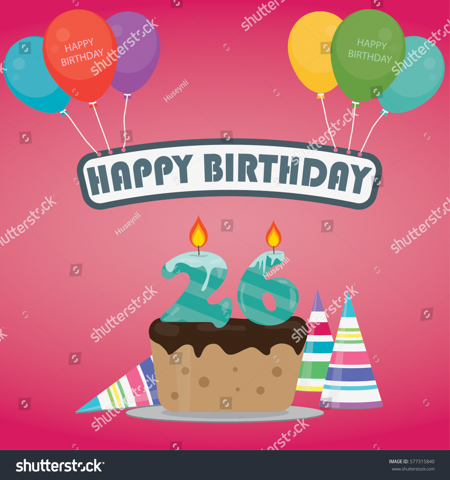 Birthday Cake Candle Number 26 Flat Stock Vector 577315840