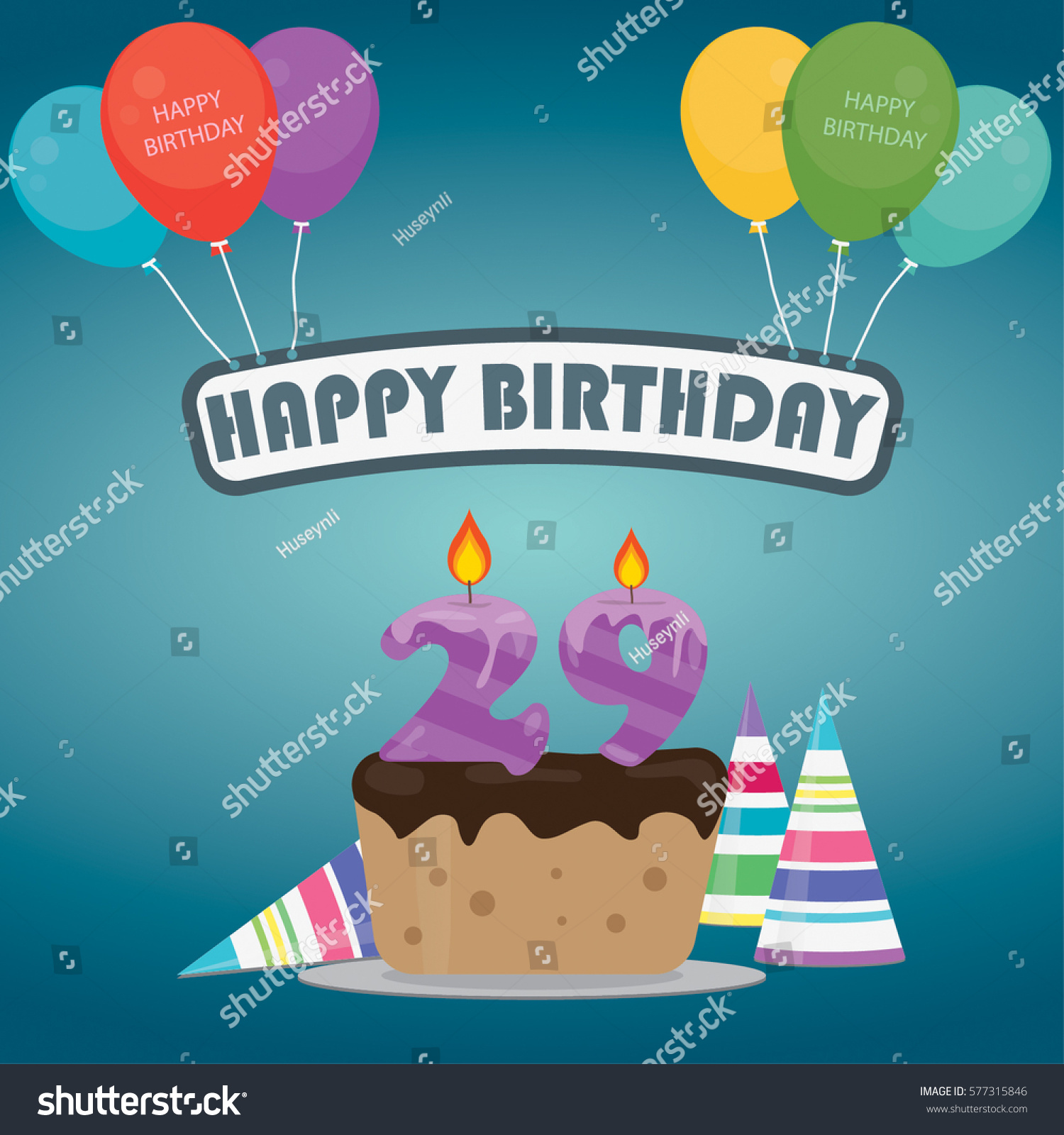 birthday cake candle number 29 flat stock vector royalty free