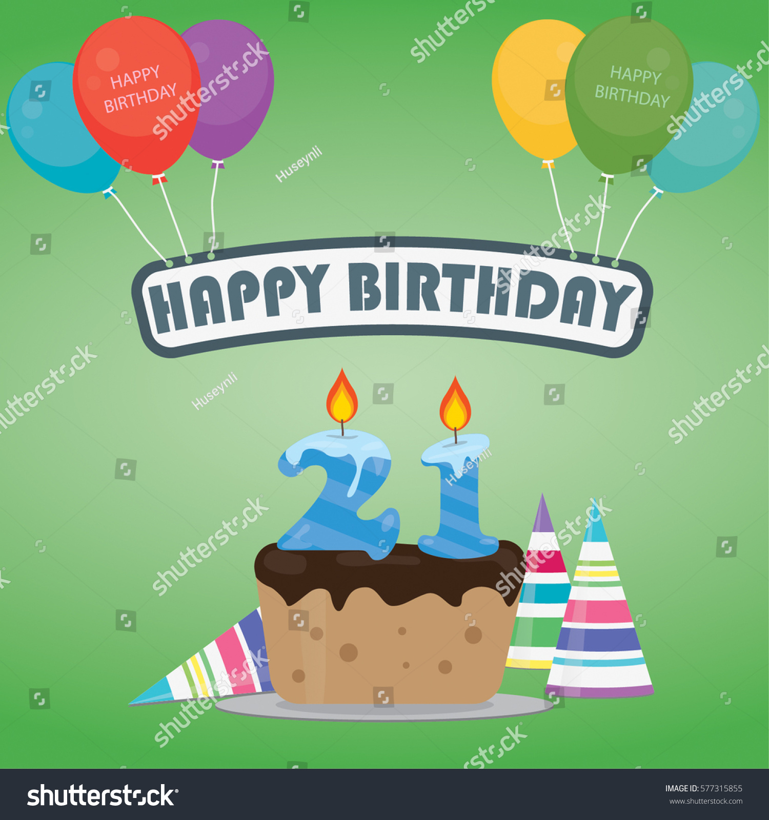 birthday cake candle number 21 flat stock vector royalty free