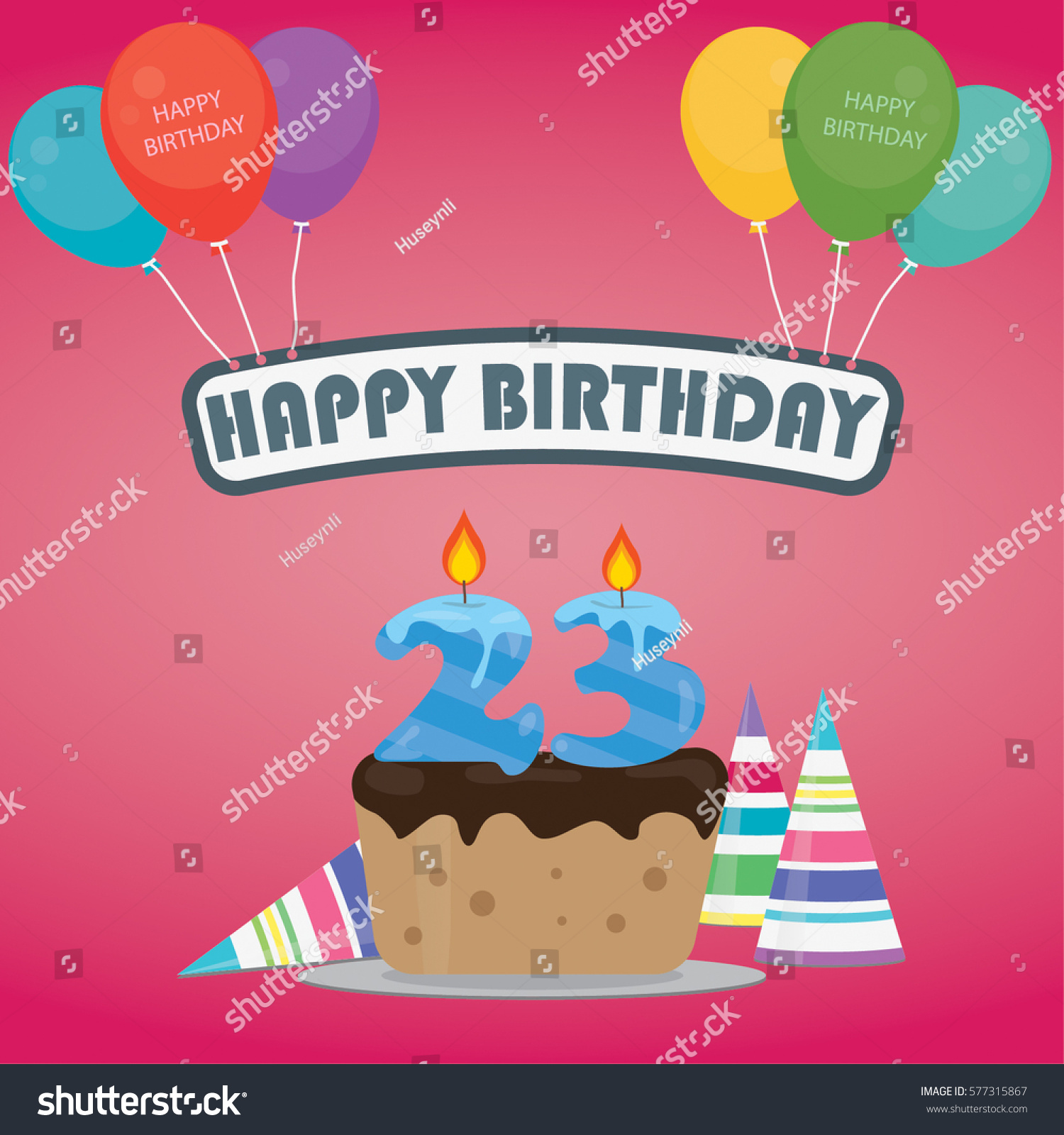 Birthday cake candle number 23 flat stock vector 577315867 birthday cake with a candle number 23 in flat style for birthday party invitation and cards stopboris Gallery