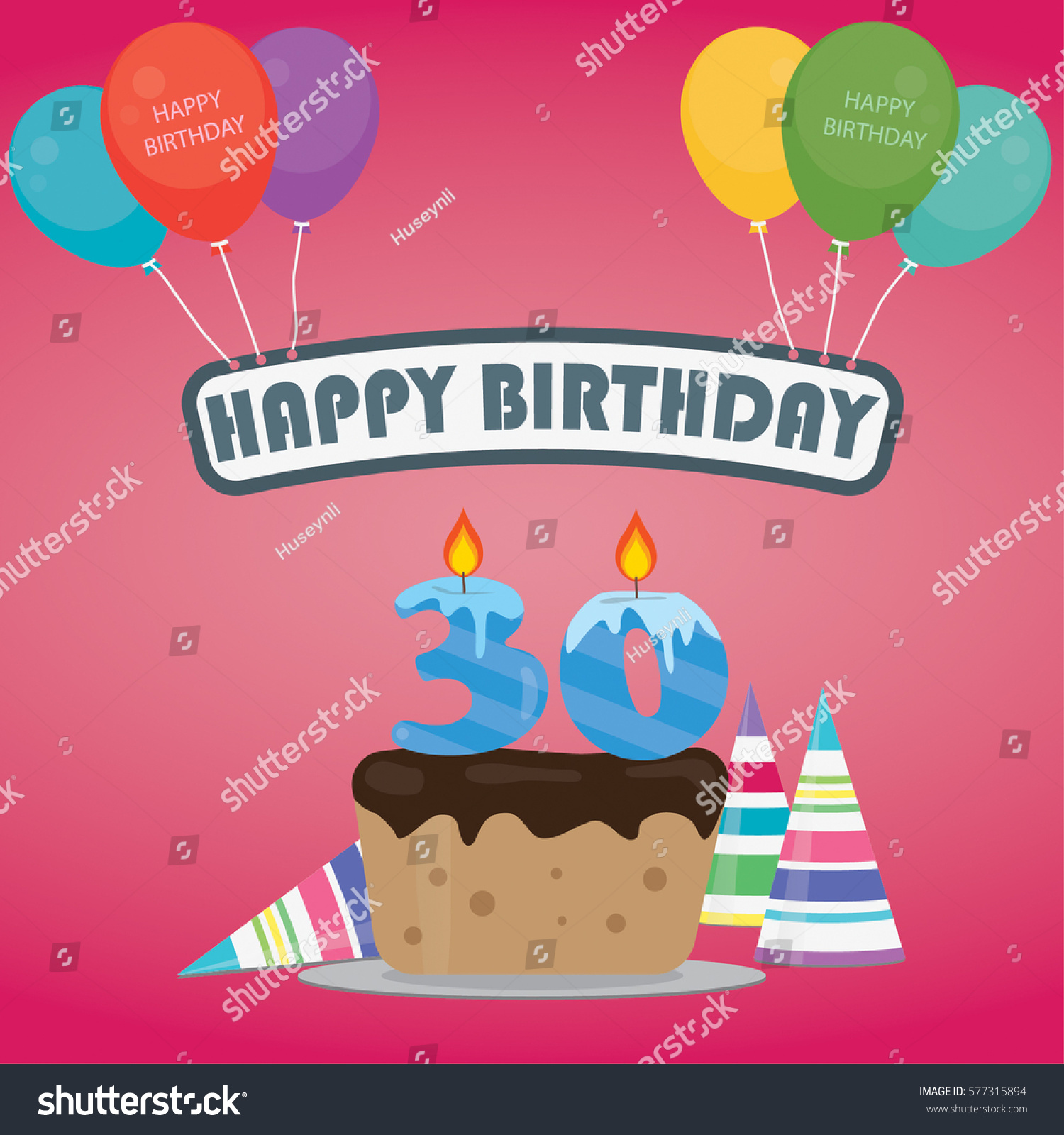 Birthday Cake With A Candle Number 30 In Flat Style For Party Invitation And Cards
