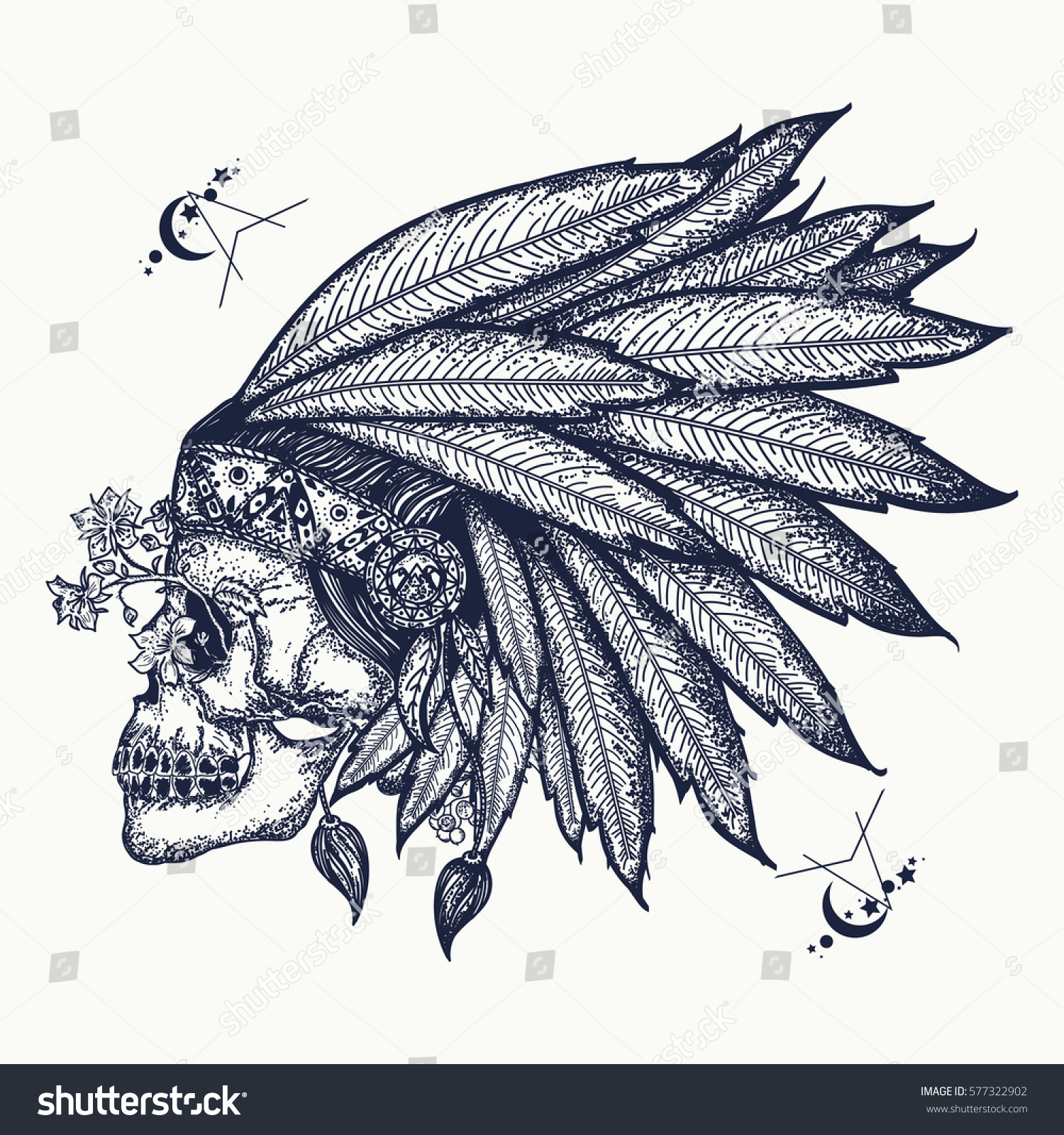indian skull tattoo art warrior symbol stock vector royalty free
