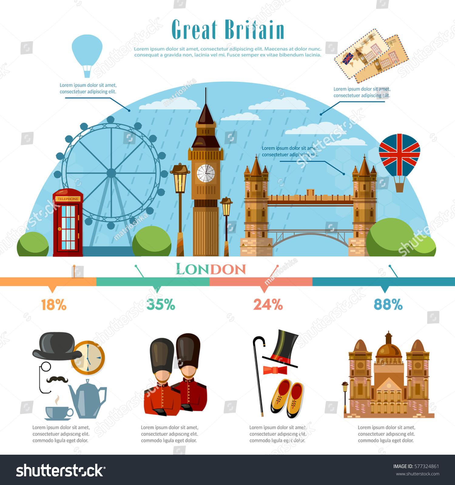 London Infographic Tourist Sights Great Britain Stock-Vektorgrafik ...