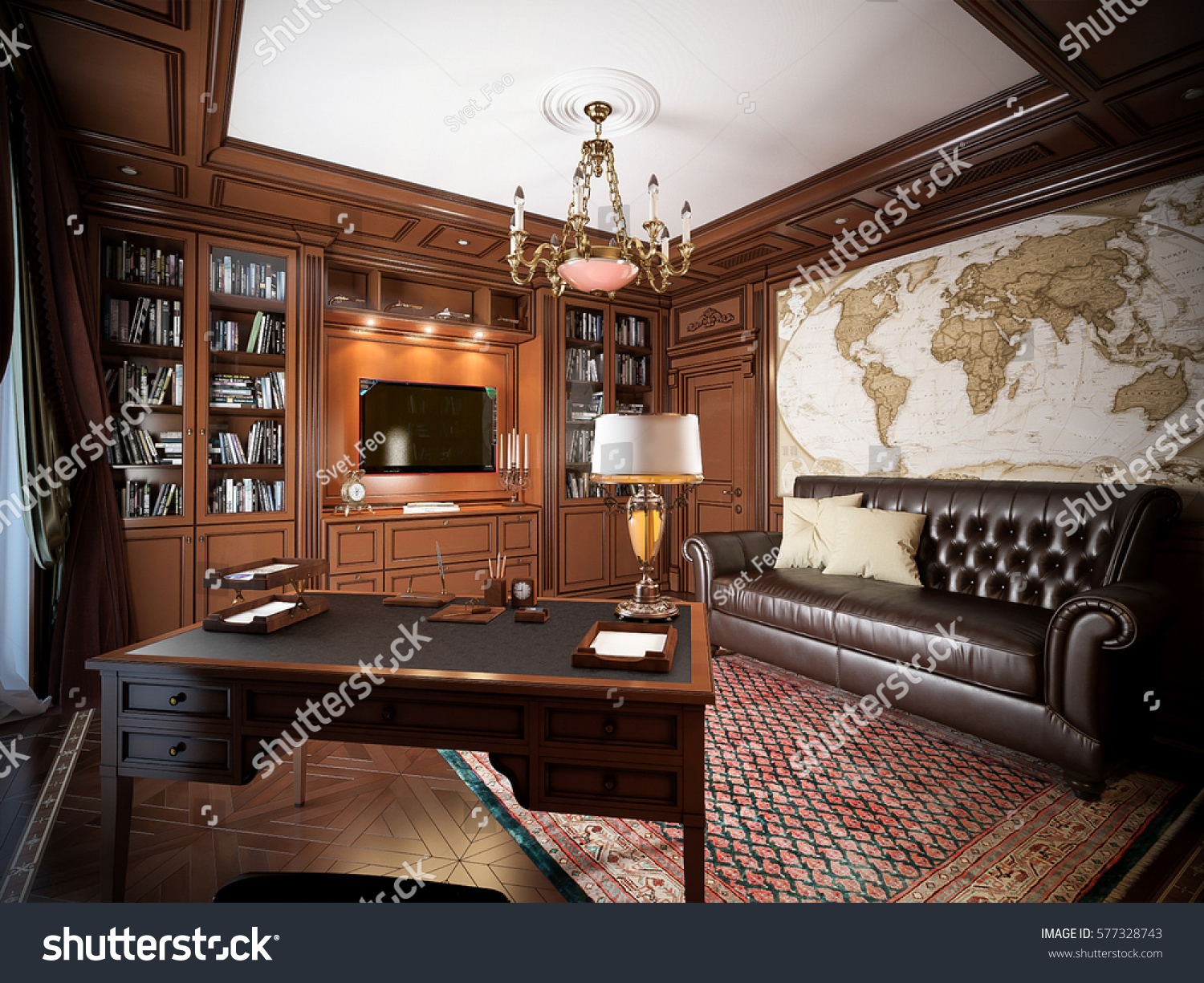 Home Office Interior Design In Classic Style. 3d Rendering.