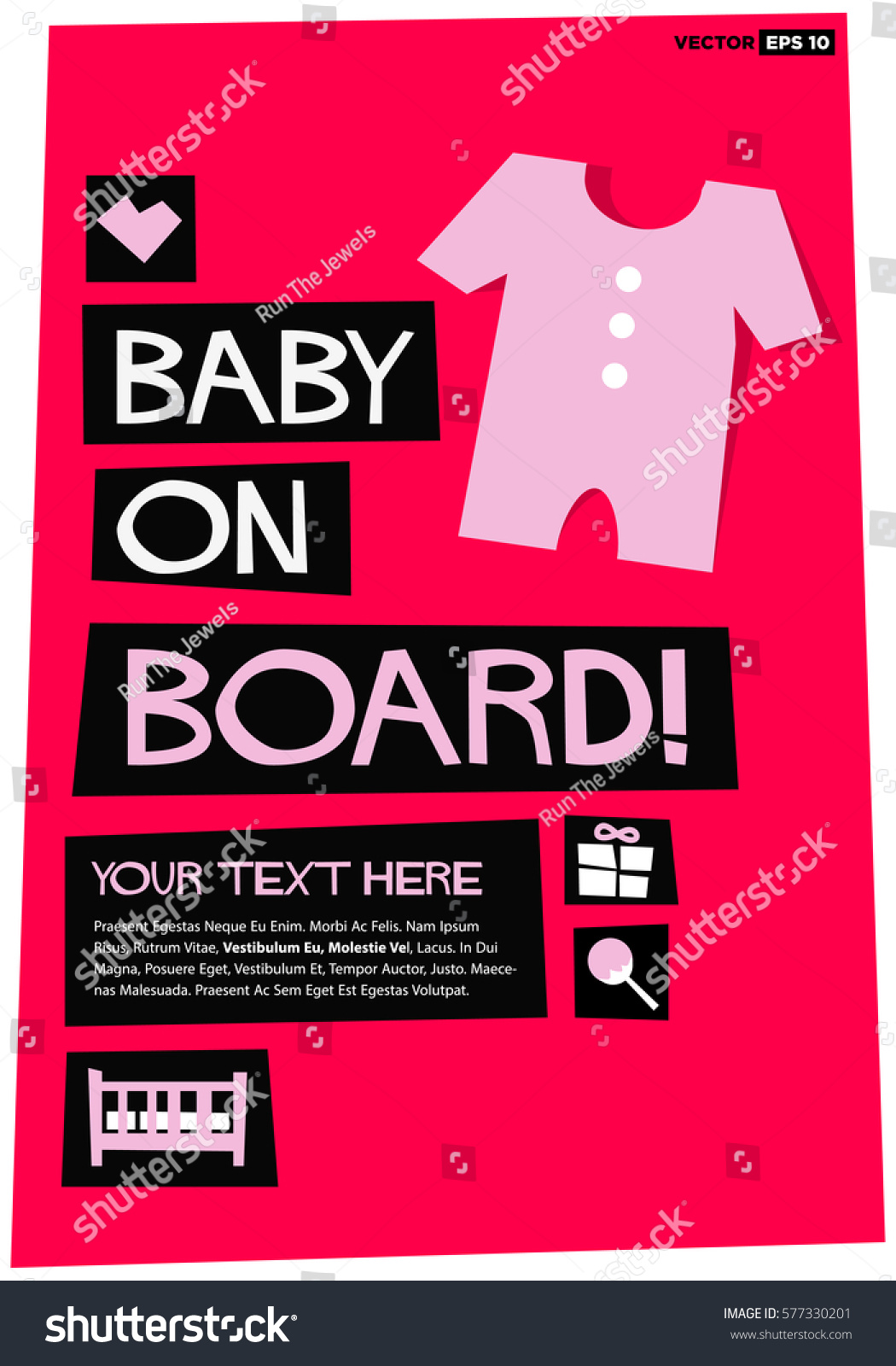 A board poster design - Baby On Board Flat Style Vector Illustration Poster Design With Text Box Template