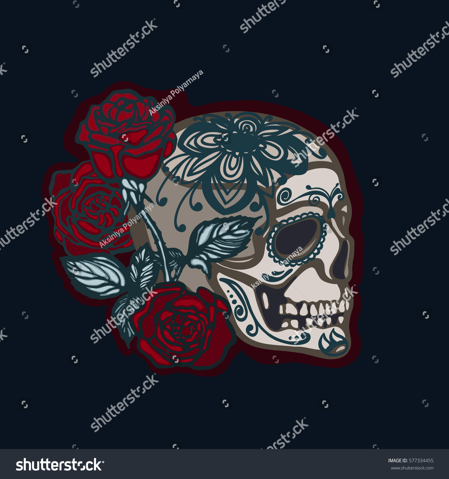 Skull Roses Symbol Mexican Holiday Day Stock Illustration 577334455