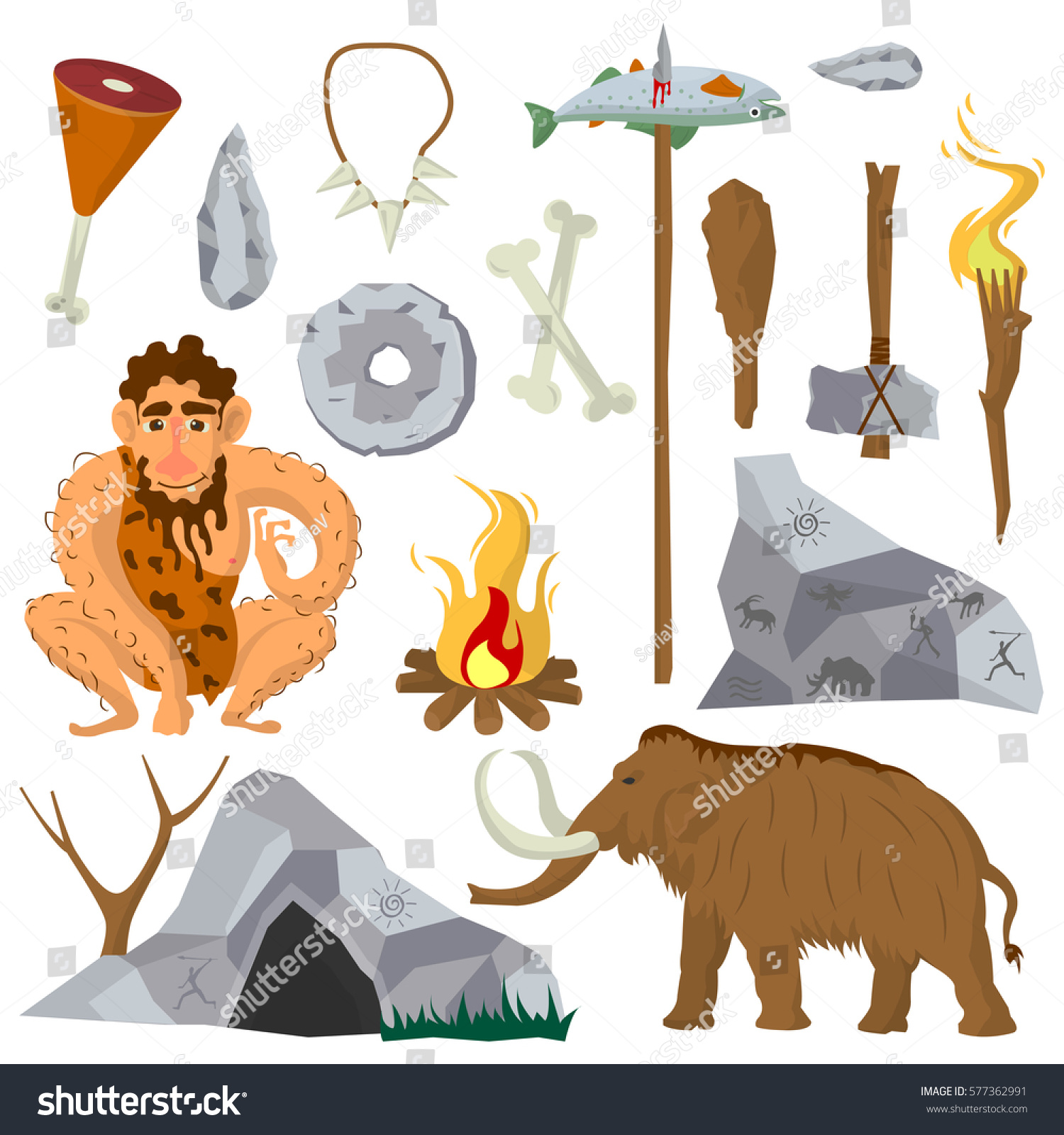 Stone Age Vector Flat Icons Set Stock Vector (Royalty Free ...