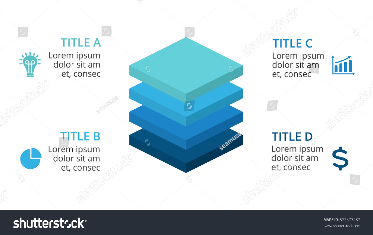 vector squares 3d infographic layers diagram stock vector, Presentation templates