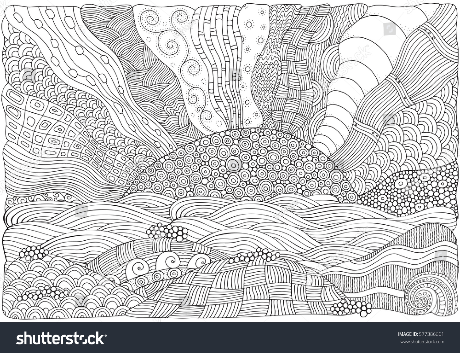 Stress less coloring by the shore - Black And White Fantasy Picture With Sun And Sea Shore Beach Landscape Pattern For