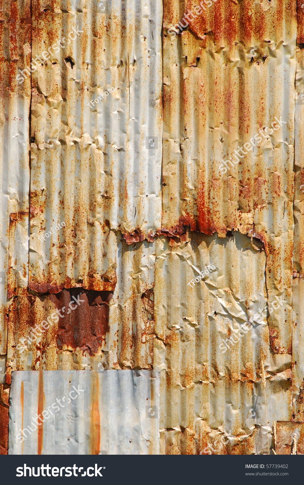 Old Rusted Corrugated Metal Wall On A Building In The Old