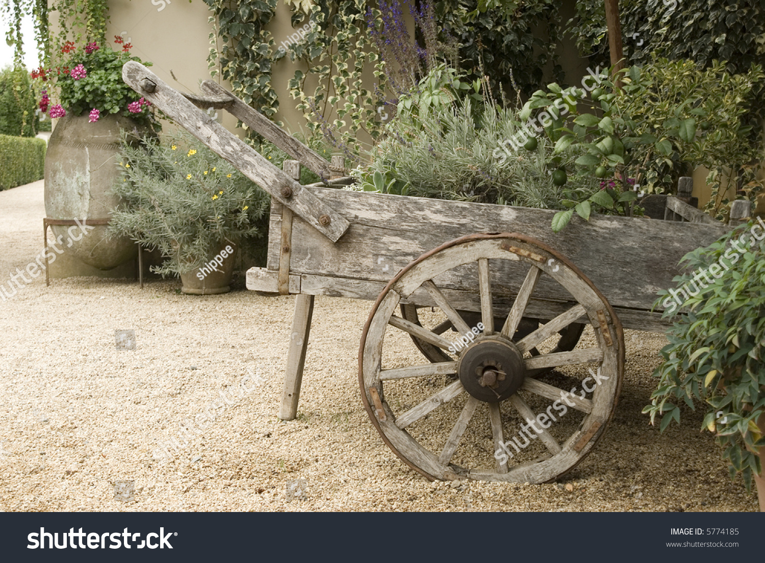 Garden Showing Old Wooden Wagon Wagon Stock Photo Edit Now 5774185