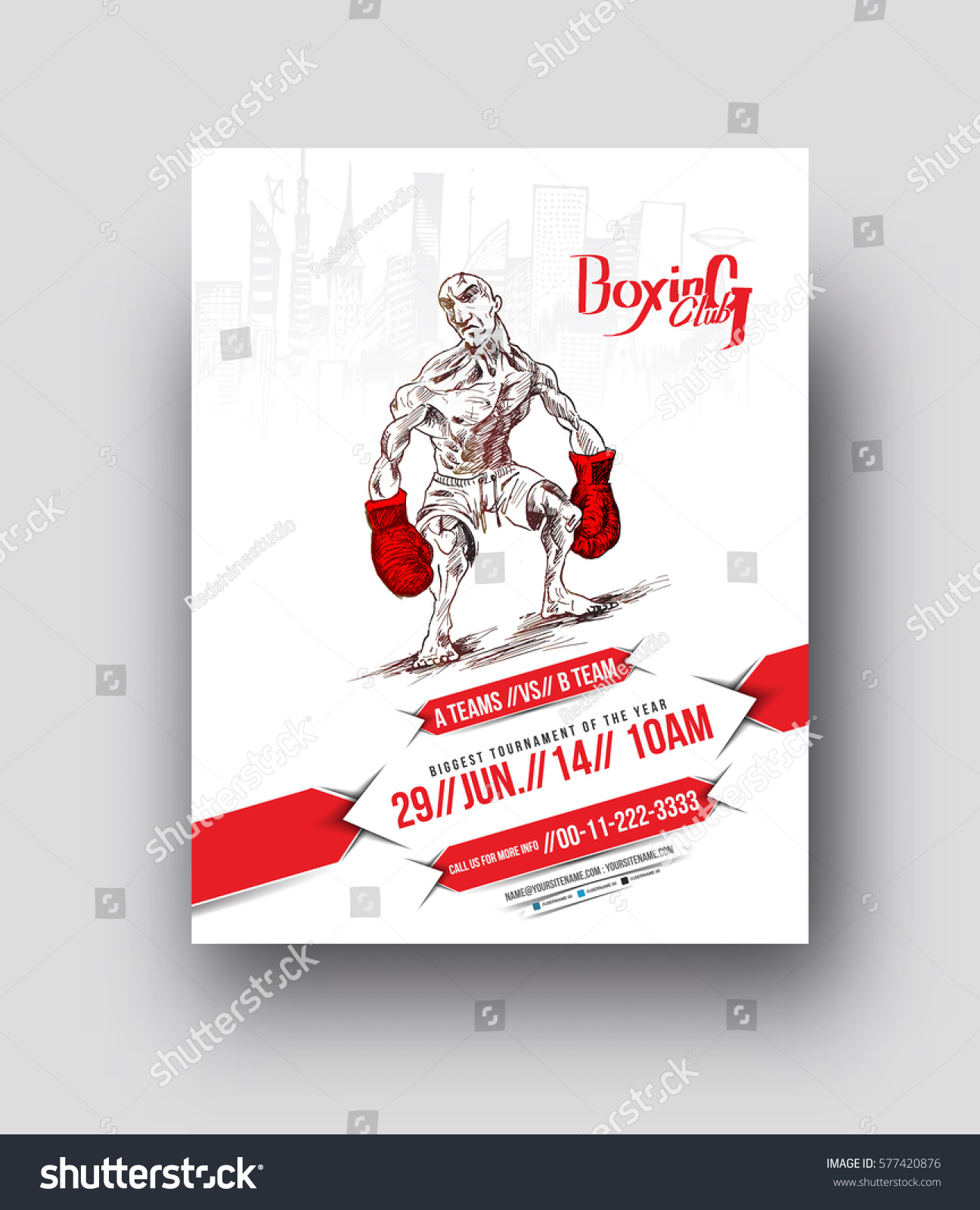 Boxing Club Flyer Poster Template Vector Stock Vector 577420876 ...