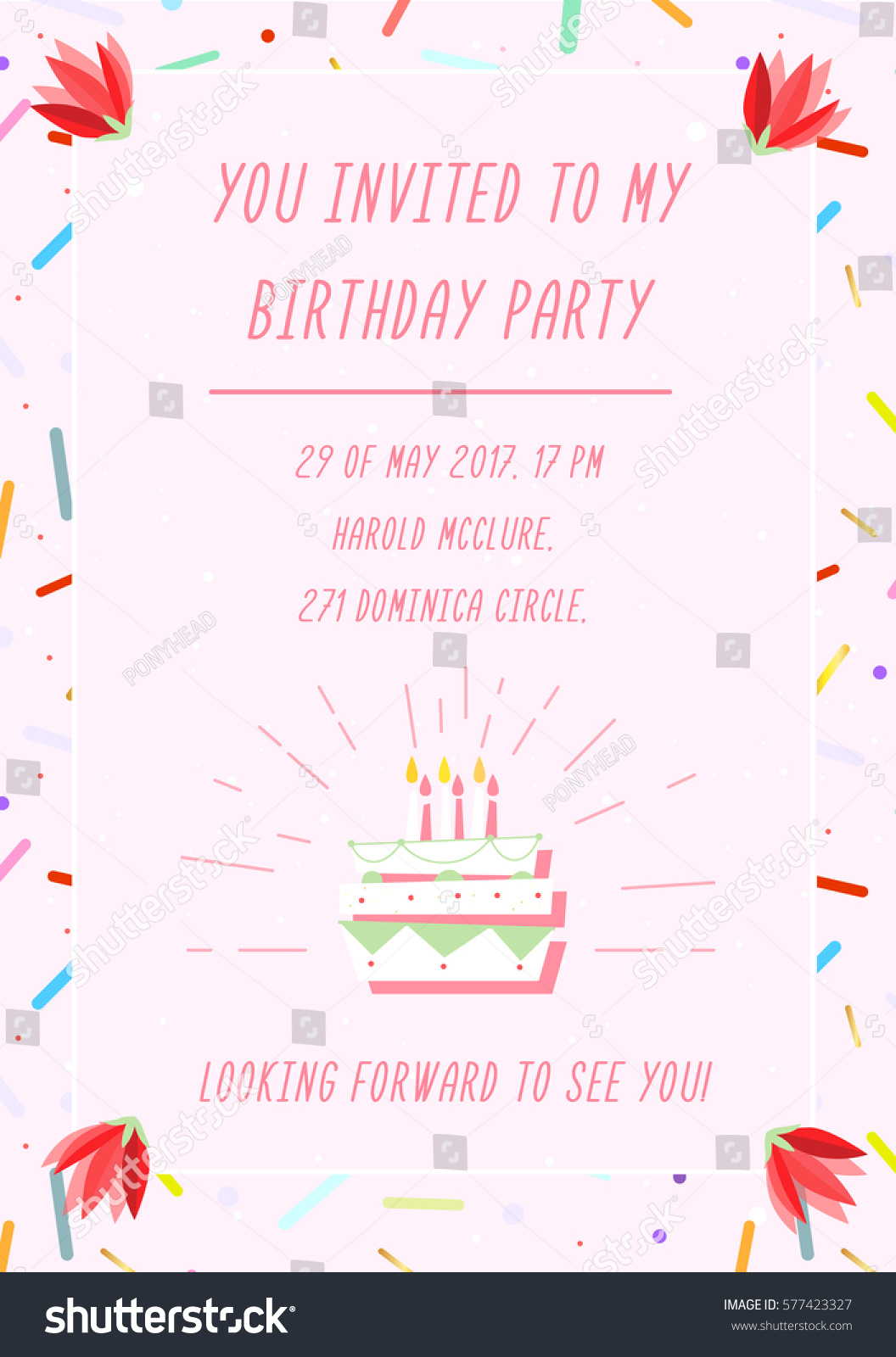 Birthday Invitation Card On Geometric Background Stock Vector Stock Vector  Birthday Invitation Card On Geometric Background With Colorful Shapes And  Forms ...  Invitation Forms