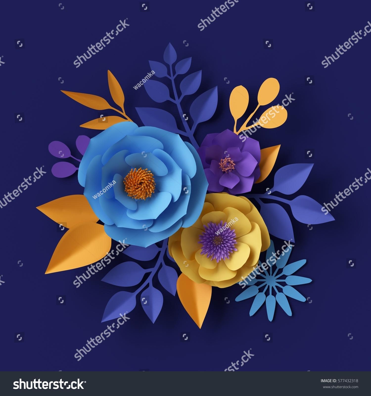 3 D Render Digital Illustration Yellow Blue Stock Illustration