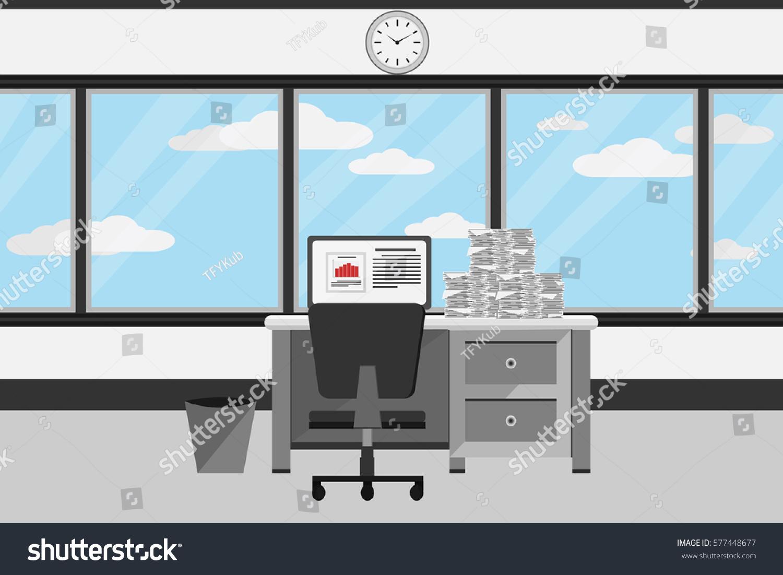 Interior Office Room Designvector Illustration Stock