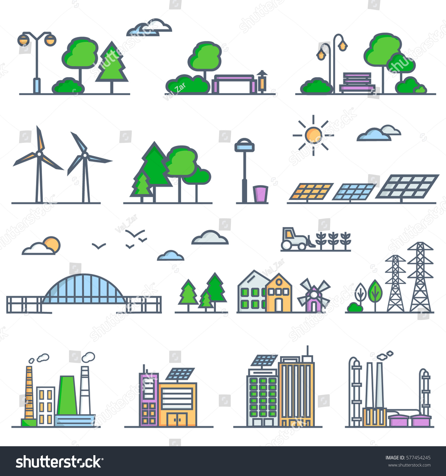 Eco City Linear Style Solar Panels Stock Vector