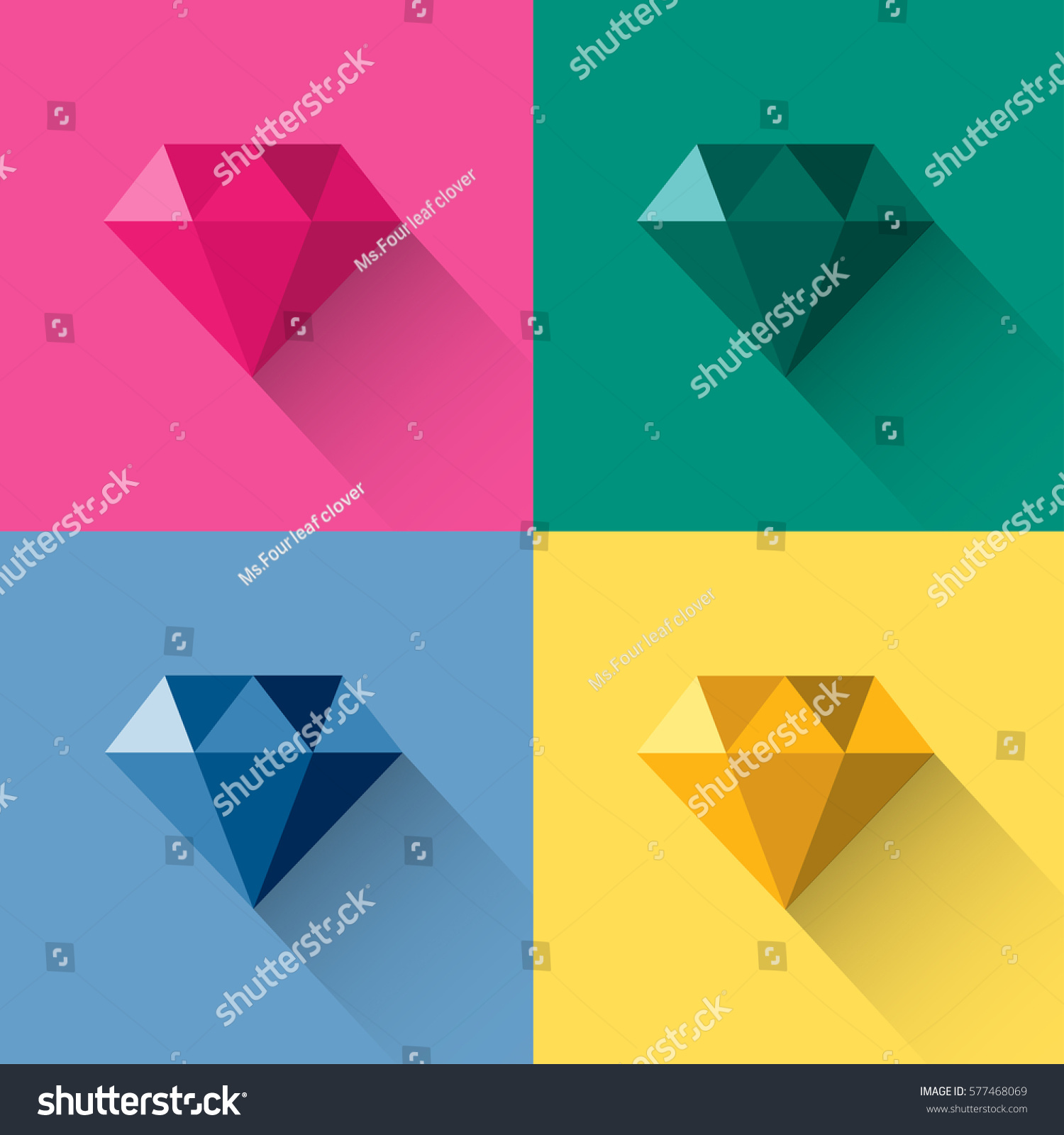Diamond Jewelry Gem Colorful Polygon Abstract Logo Vector