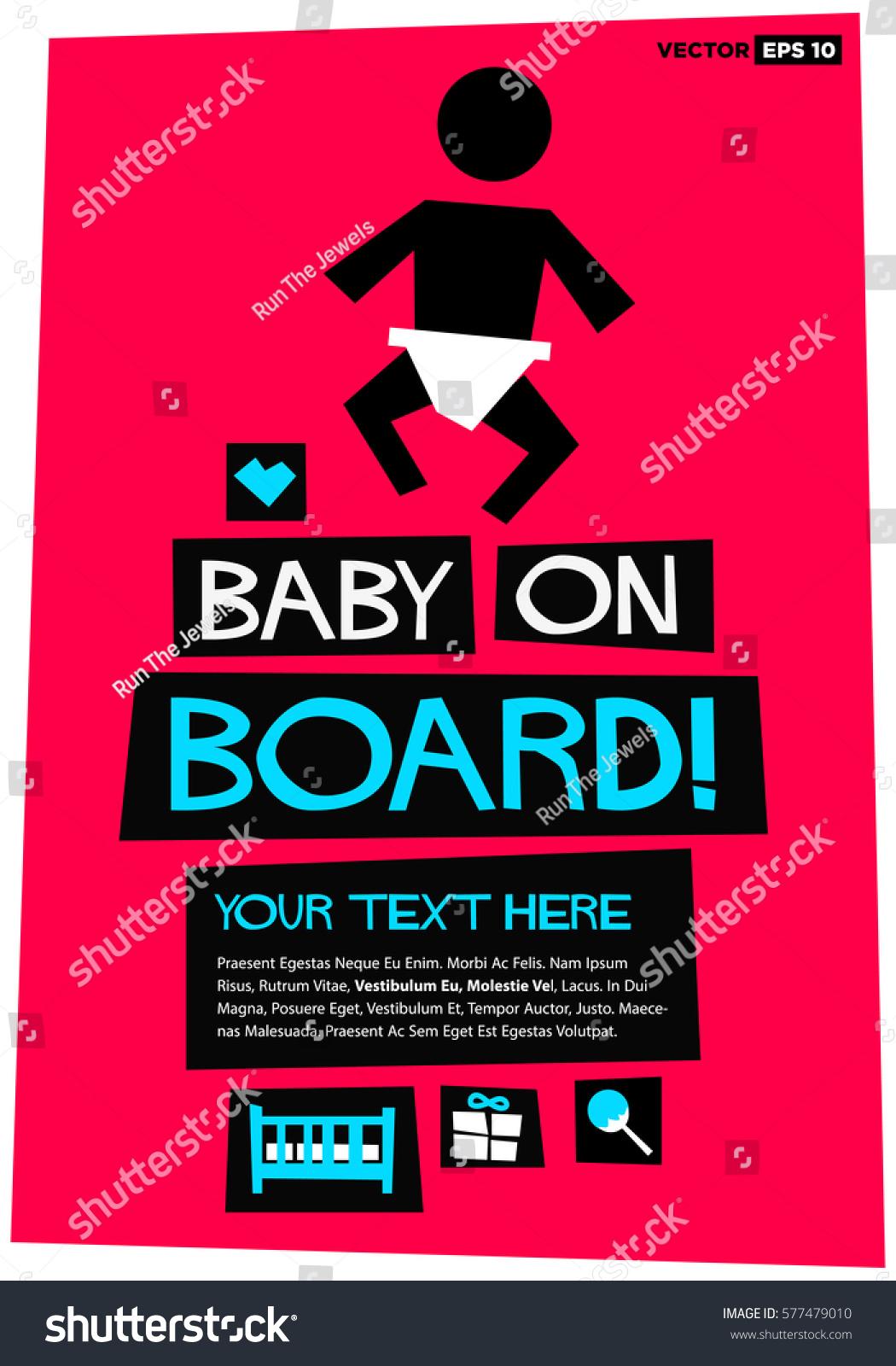 Baby On Board Flat Style Vector Stock Vector 577479010 - Shutterstock
