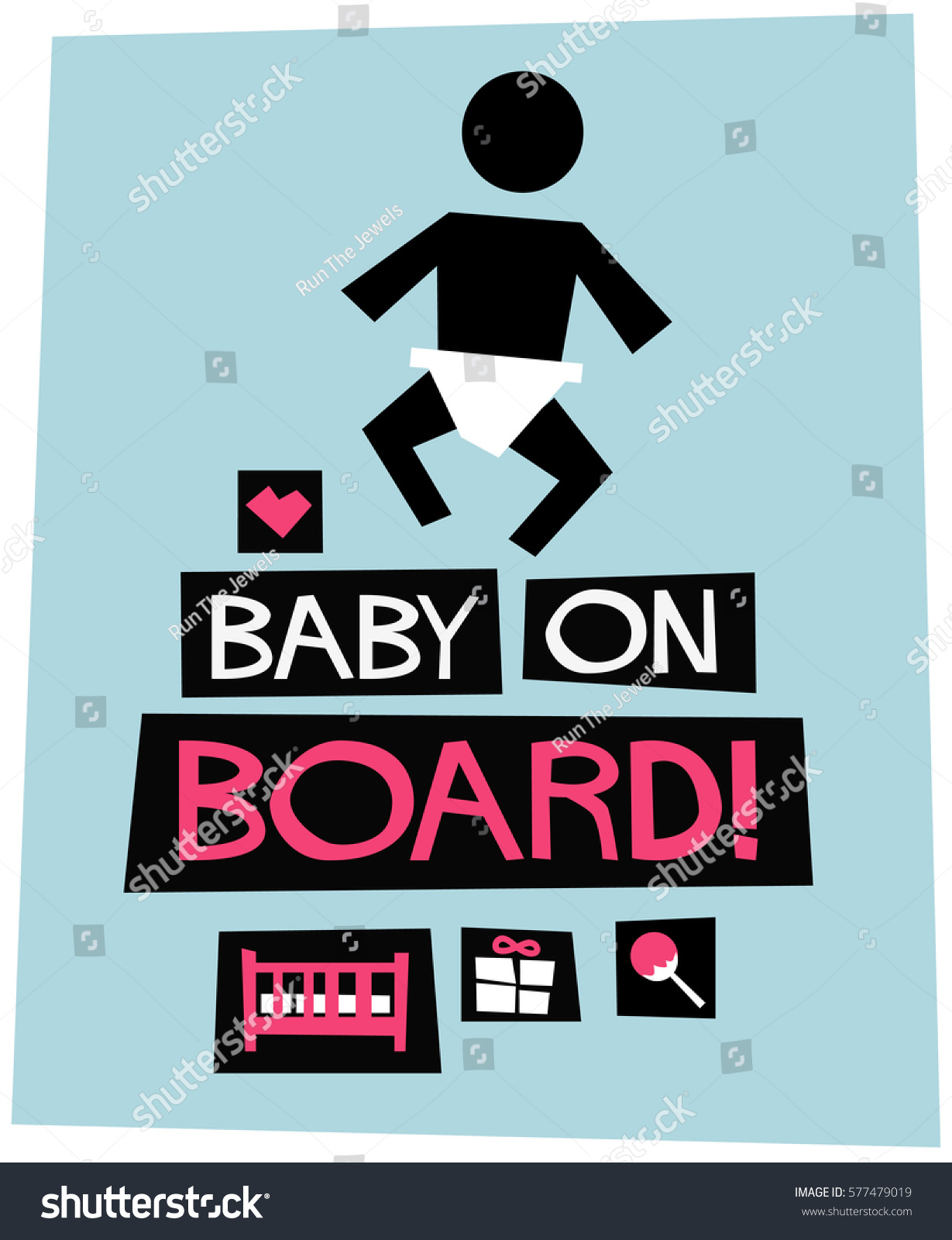 A board poster design - Baby On Board Flat Style Vector Illustration Poster Design