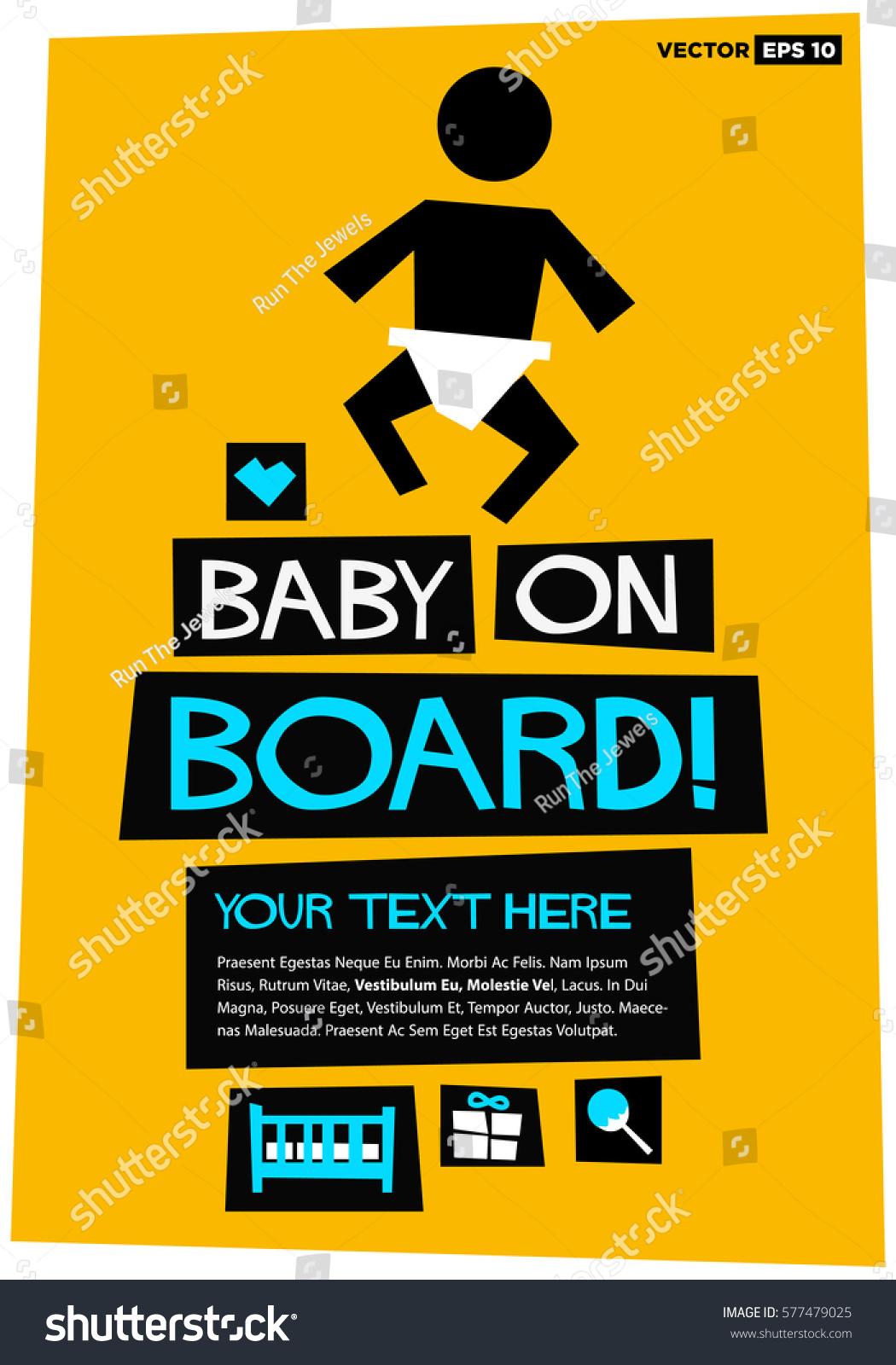 Baby On Board Flat Style Vector Stock Vector 577479025 - Shutterstock