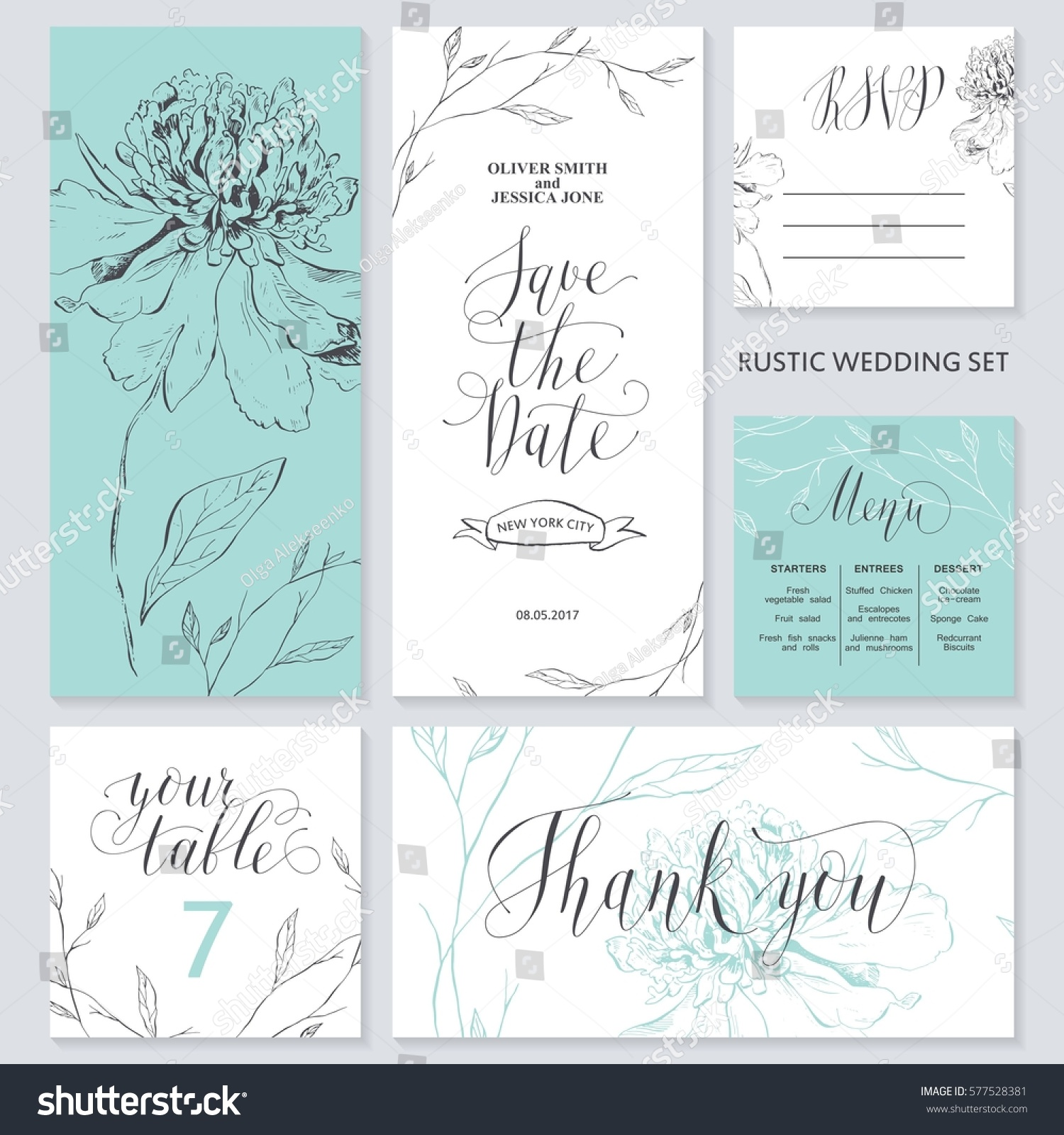 Template Rustic Wedding Invitations Save Date Stock Vector