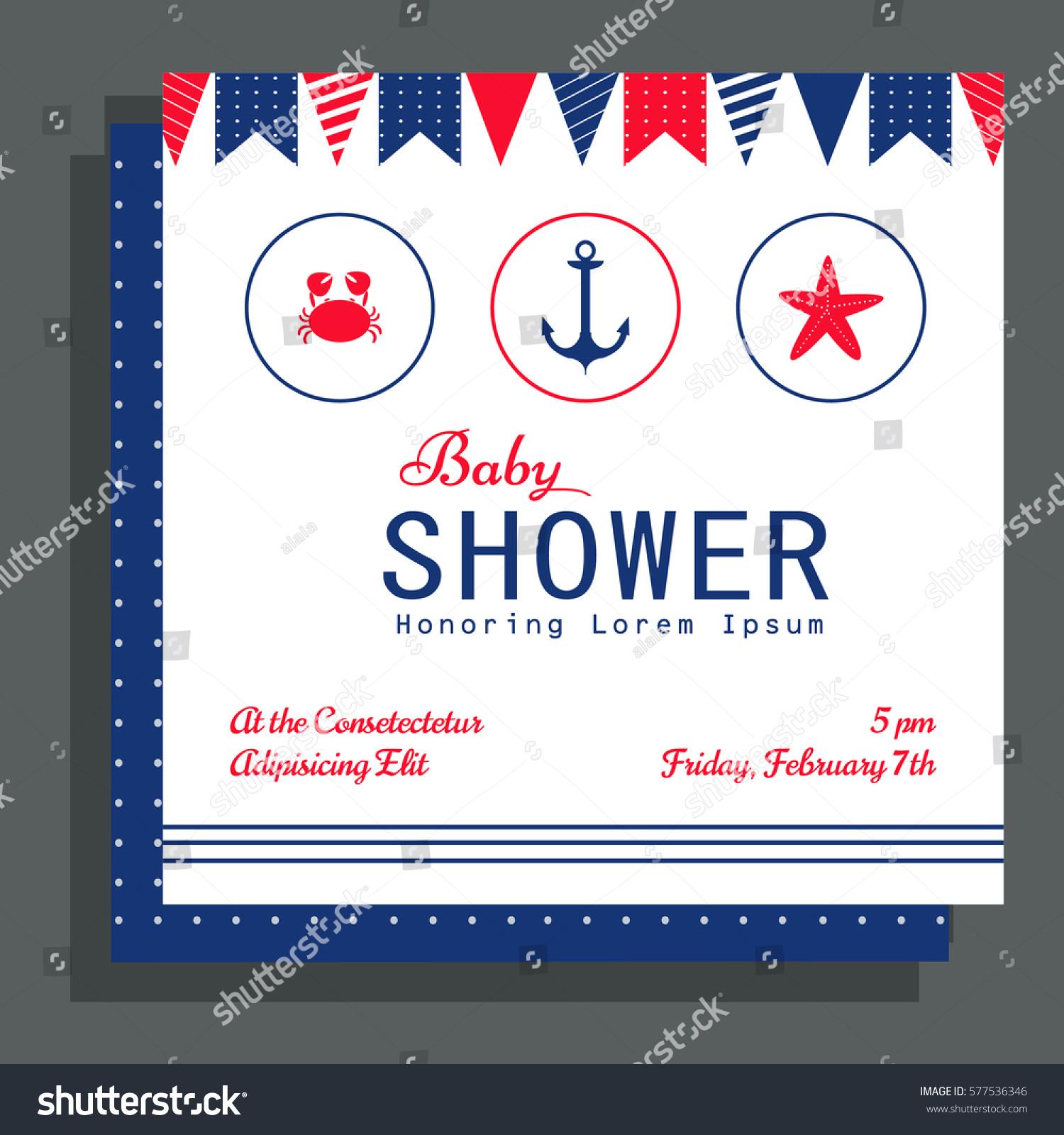 Nautical Baby Shower Card Design Stock Vector Shutterstock