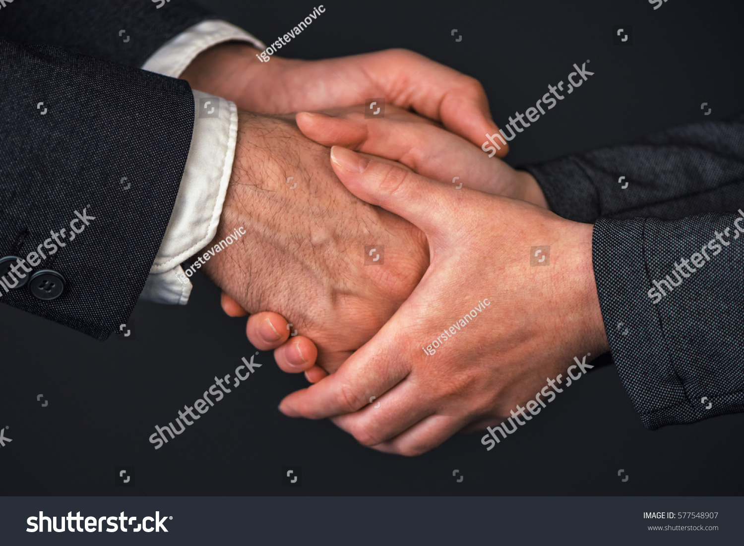 Businessman And Businesswoman Handshake In Office People Greeting