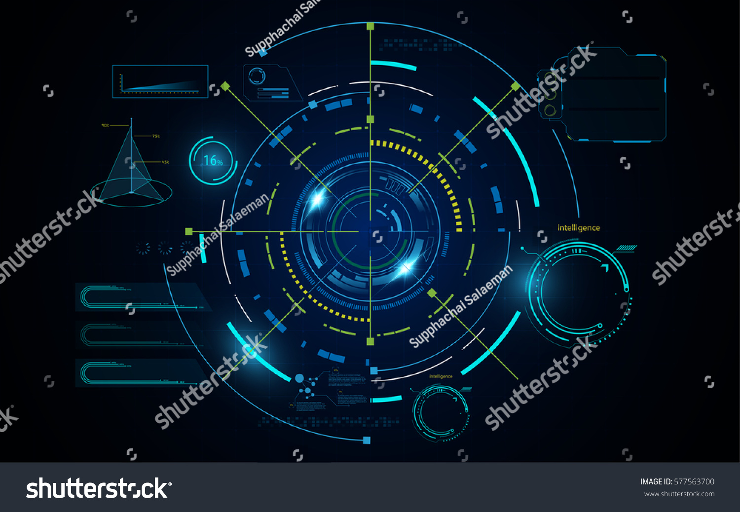 Futuristic Hi Tech Background Vector: Hud Futuristic Digital Hi Tech Sci Stock Vector 577563700
